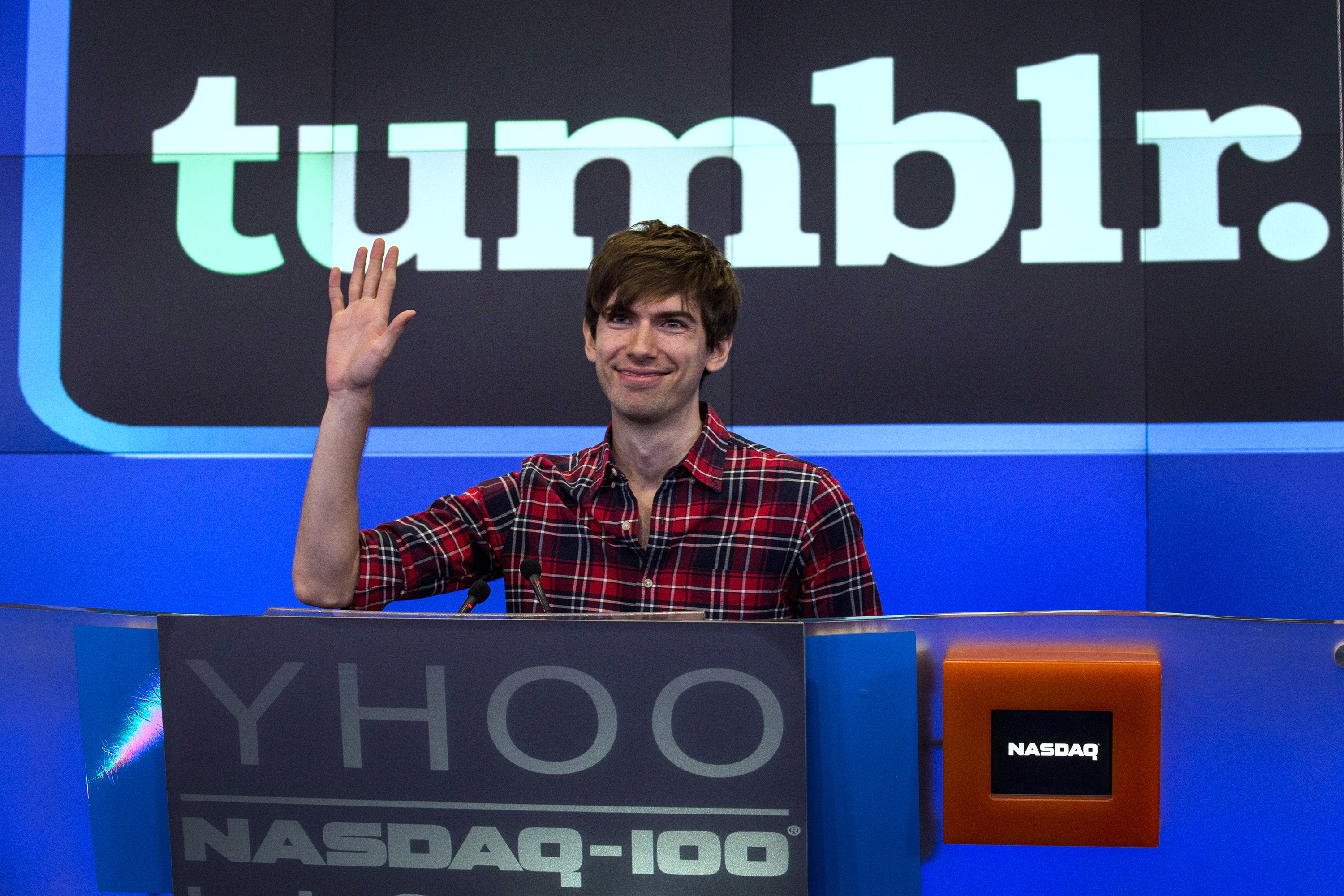 NEW YORK, NY - JULY 11:  David Karp, founder of the micro-blogging site Tumblr, opens the NASCAQ Exchange on July 11, 2013 in New York City. Tumblr was bought by Yahoo! for $1 billion in May; Karp is estimated to be worth $200 million. Verizon is reported to be selling Tumblr to Automattic, owner of Wordpress, at a reported bargain-basement price tag of under $20 million. (Photo by Andrew Burton/Getty Images)