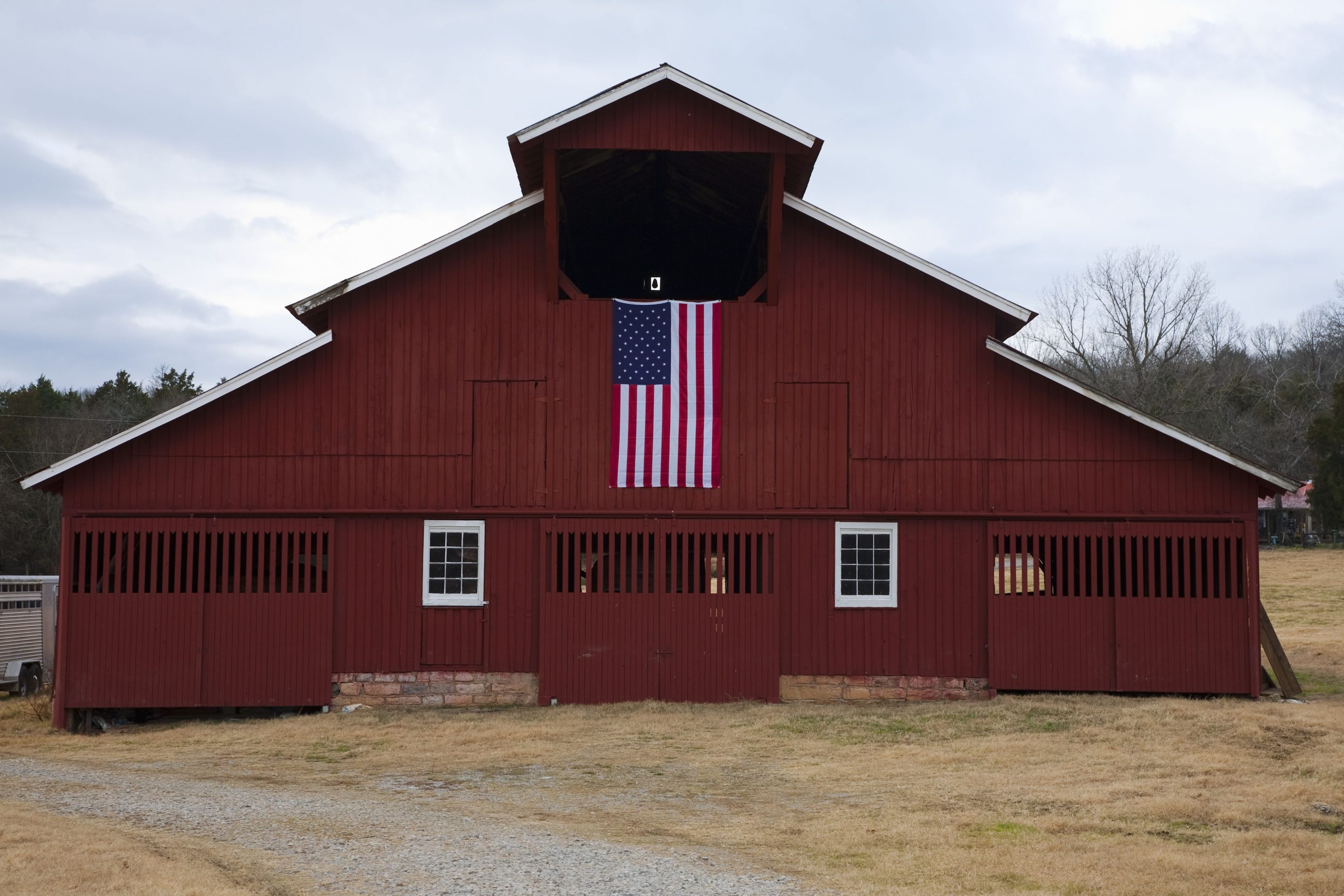 Red Barn and US Flag outside of Franklin, Tenn.