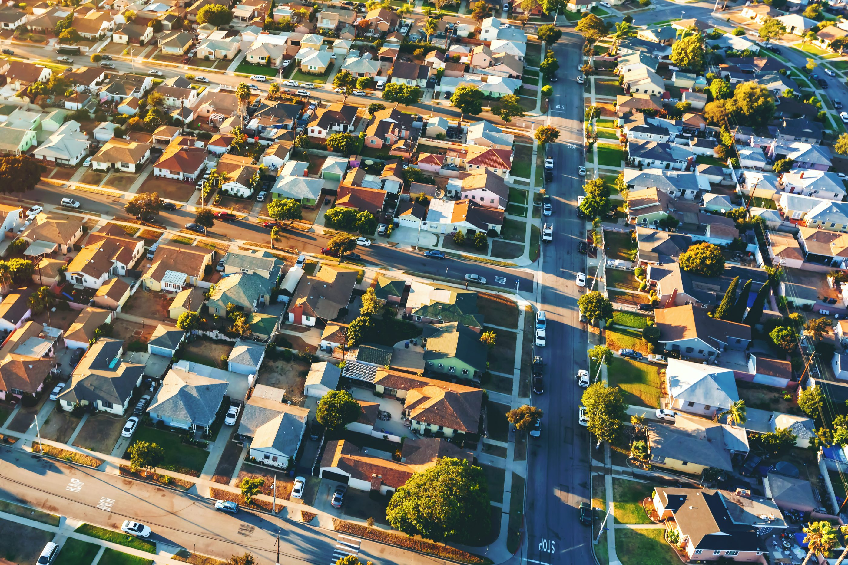 Aerial view of of a residential neighborhood in Los Angeles, Calif.