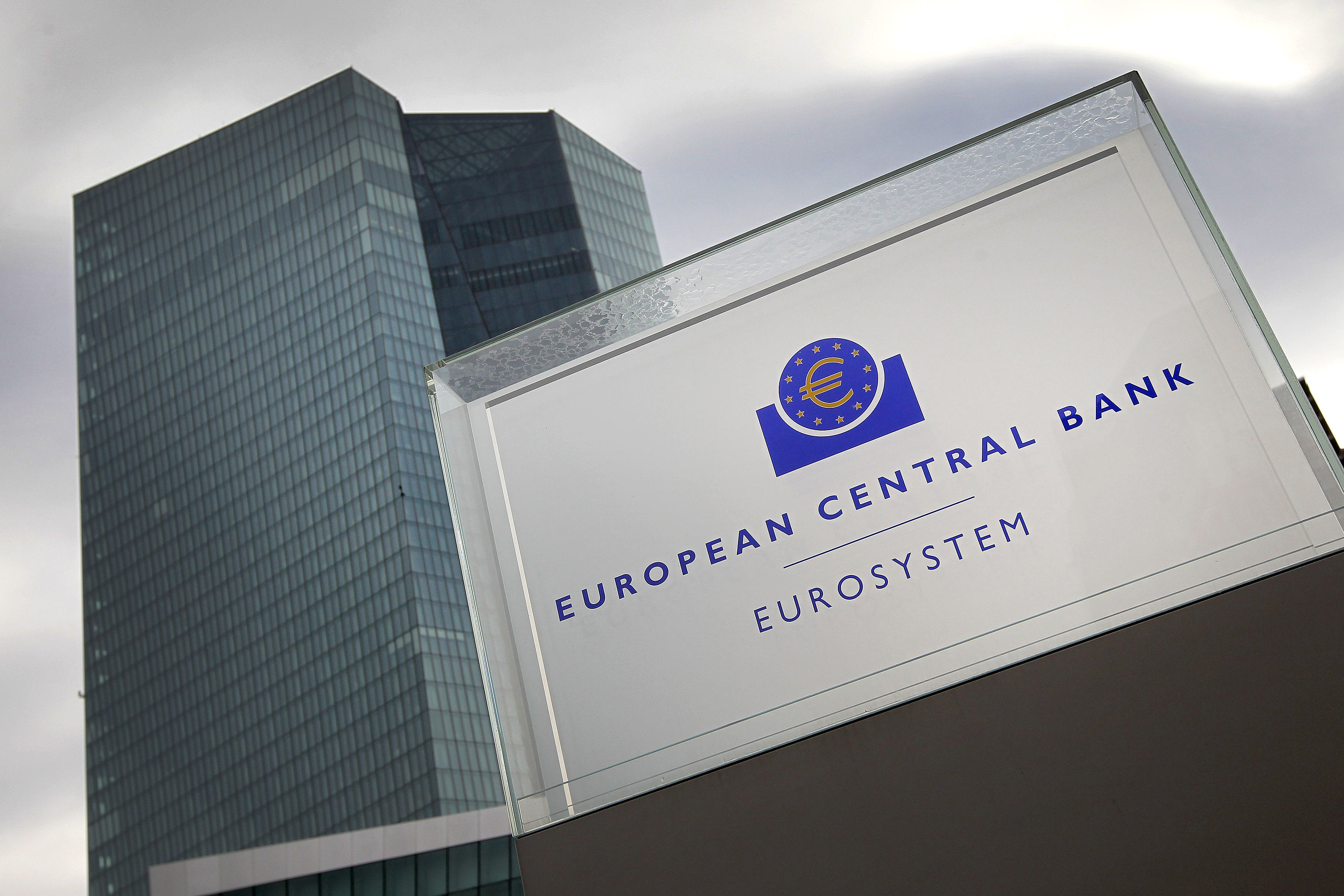 """A picture taken on October 26, 2017 shows the building of the European Central Bank (ECB) in Frankfurt am Main, western Germany. European Central Bank chief Mario Draghi said the eurozone economy still relied on """"an ample degree"""" of stimulus in the face of sluggish inflation. / AFP PHOTO / Daniel ROLAND        (Photo credit should read DANIEL ROLAND/AFP/Getty Images)"""