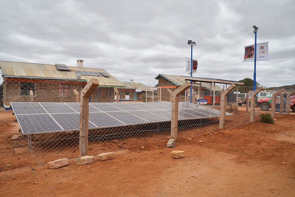 The Philips Community Life Centers are solar powered for a reliable clean energy supply. Shown is the solar power at the CLC in Mandera County, Kenya.