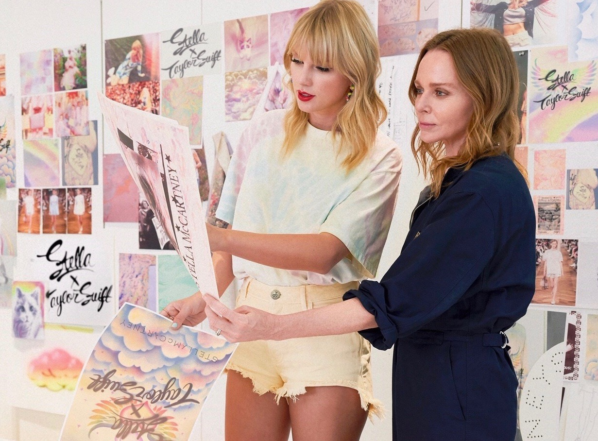 Taylor Swift and Stella McCartney join forces in a fashion collection, coinciding with the singer's release of her latest album.