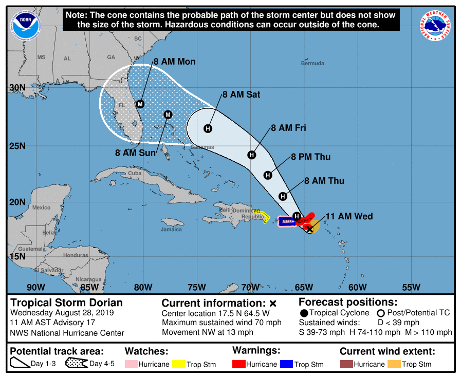 Tropical Storm Dorian. Aug 28 11am