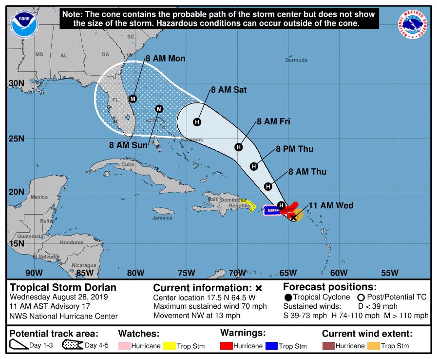Tropical Storm Dorian. Aug 28 11am