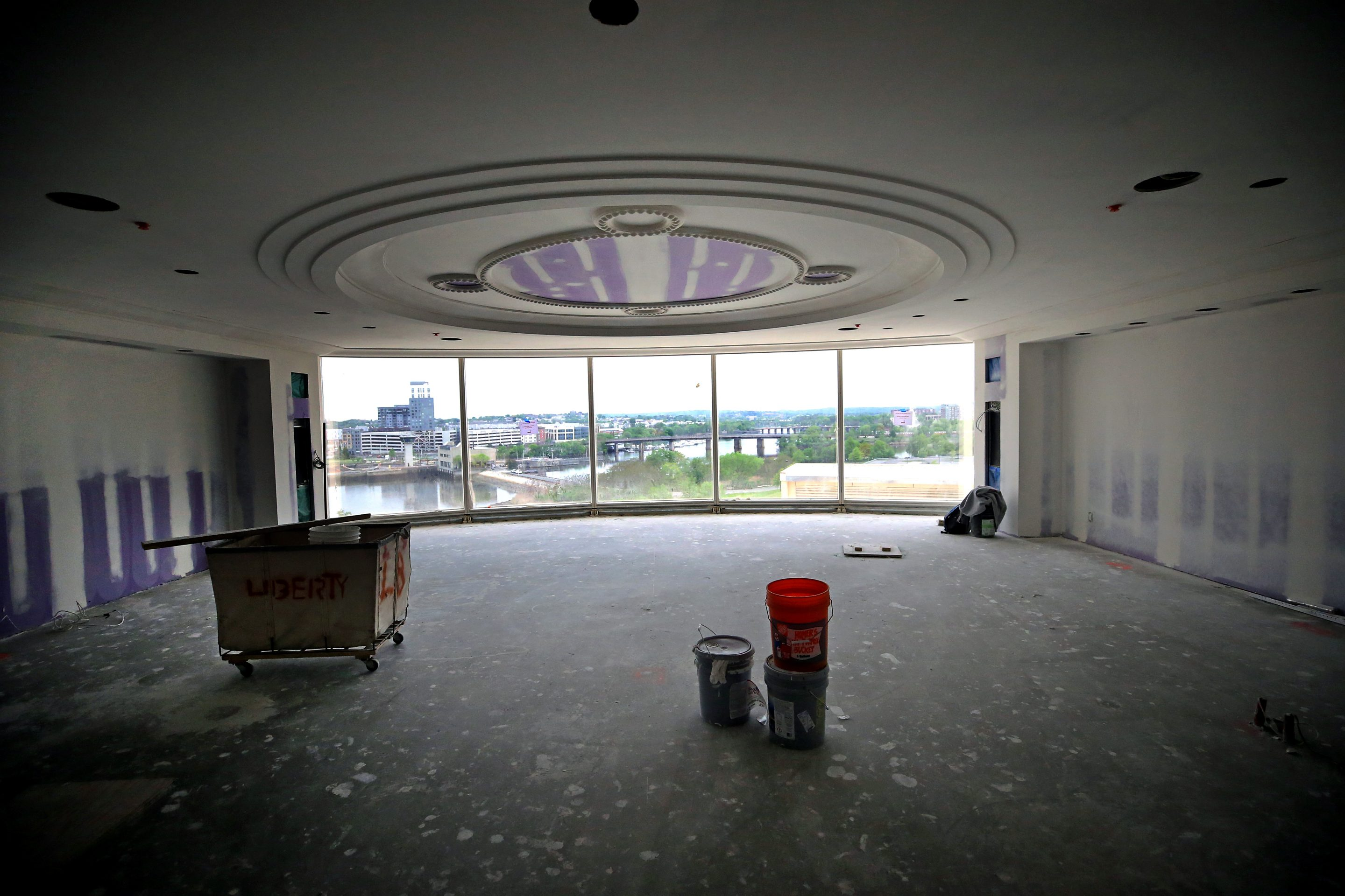 Construction takes place on a guest room at the Encore Boston Harbor casino hotel in Everett, MA on May 22, 2018.
