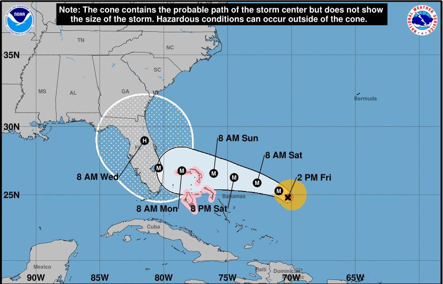 hurricane dorian projected path 8.30 2pm