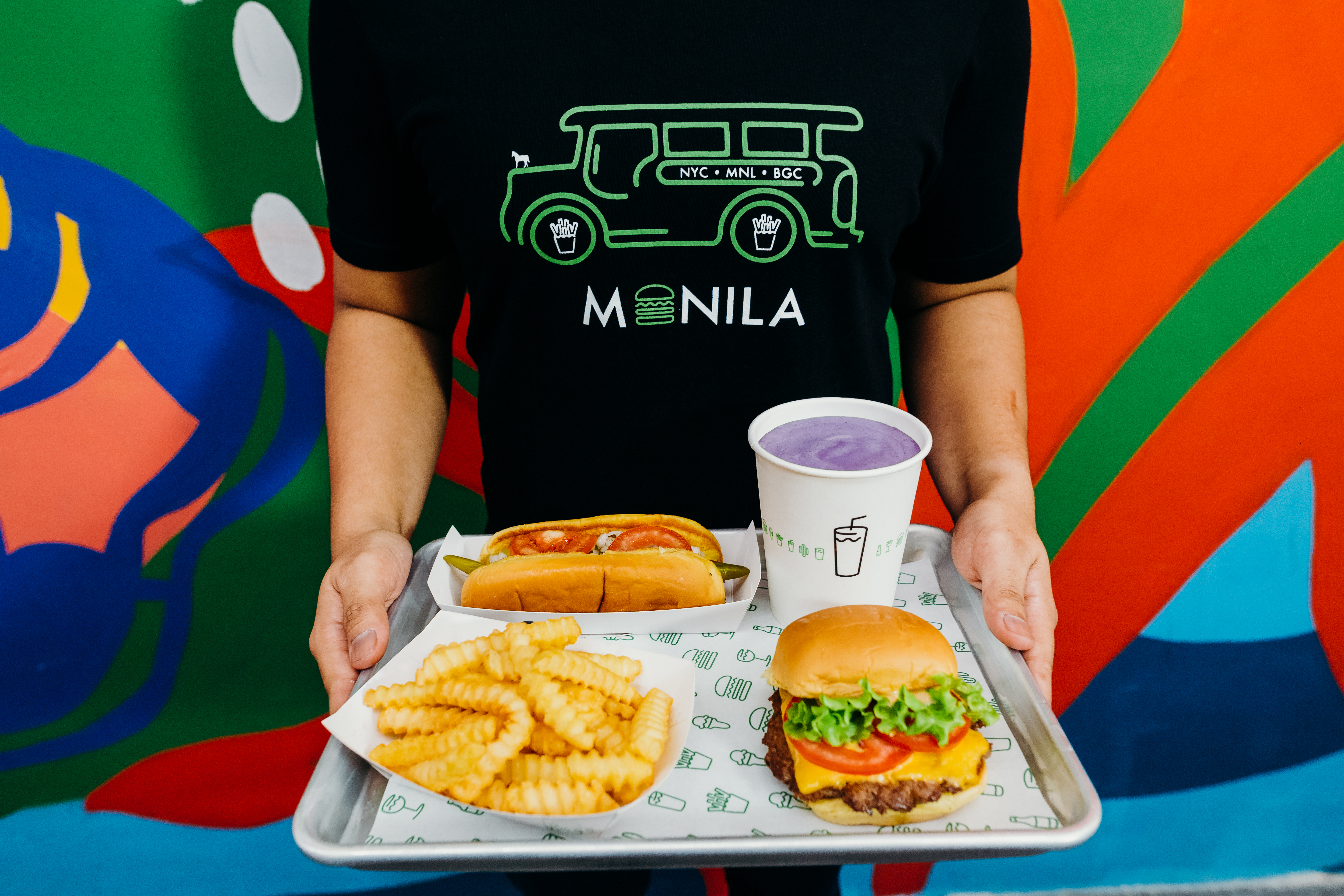 The Shack Burger with fries and an ube milkshake at the new Shack Shack in Manila.
