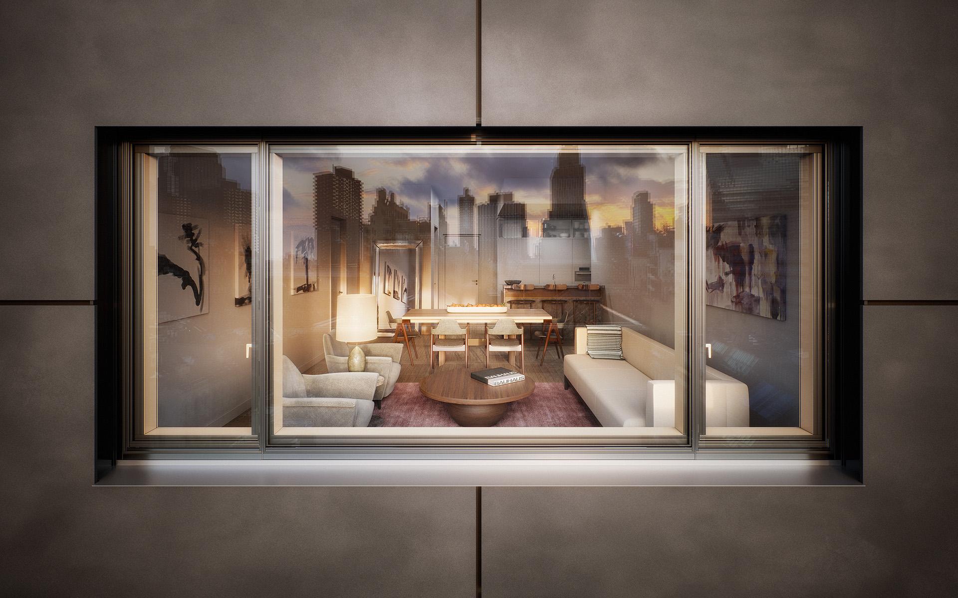 A rendering of 30 Warren, a luxury apartment building in Manhattan's Tribeca neighborhood.
