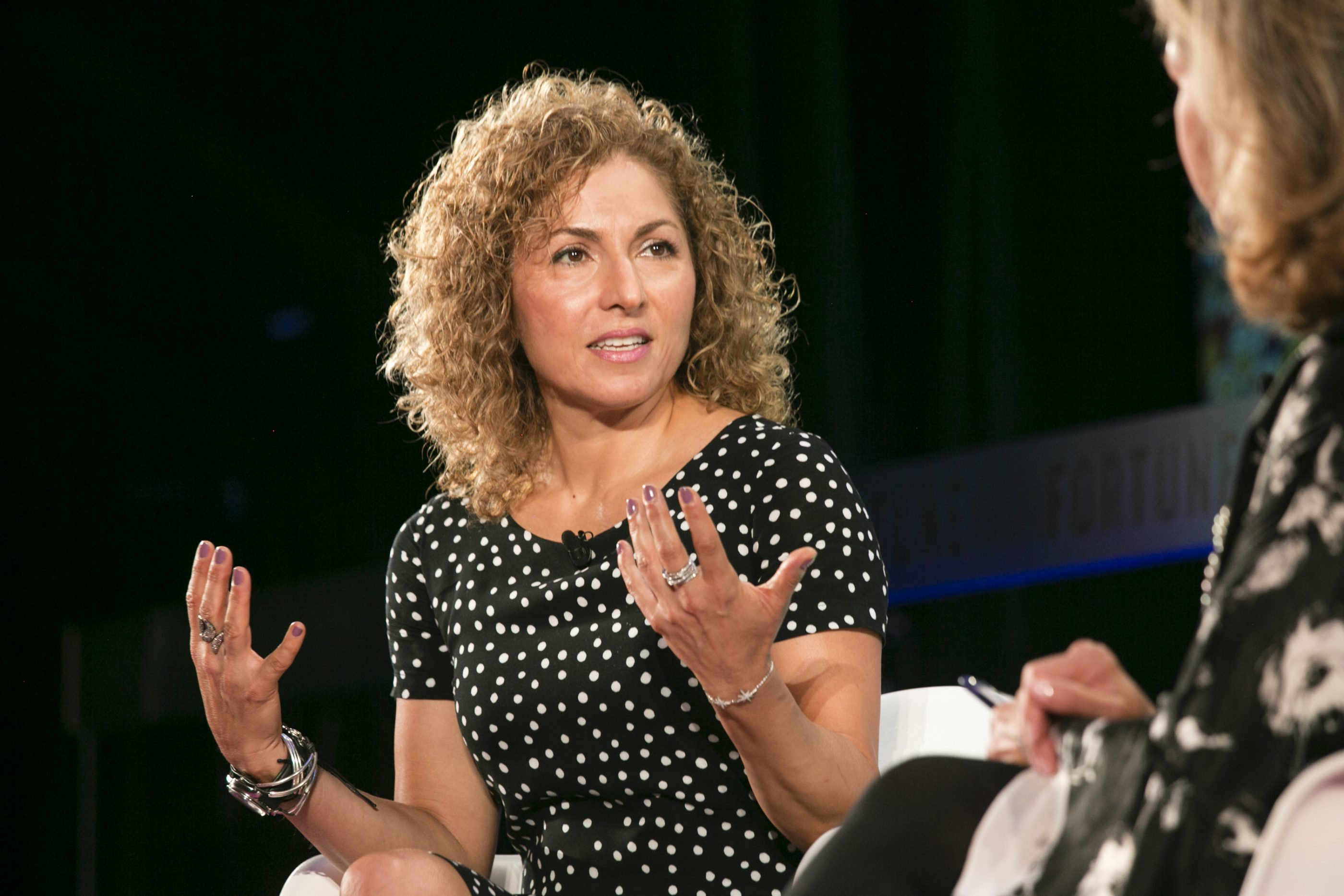 XPRIZE CEO Anousheh Ansari on stage at Fortune's Most Powerful Women International Summit in Toronto on September 17, 2019.
