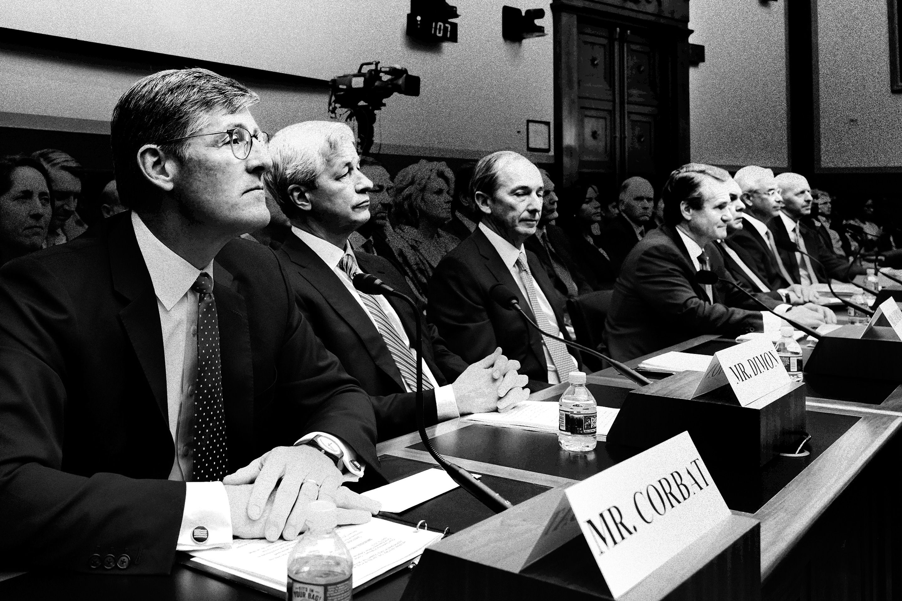 Look-alikes: The CEOs of Wall Street's biggest banks testify before Congress in April 2019.