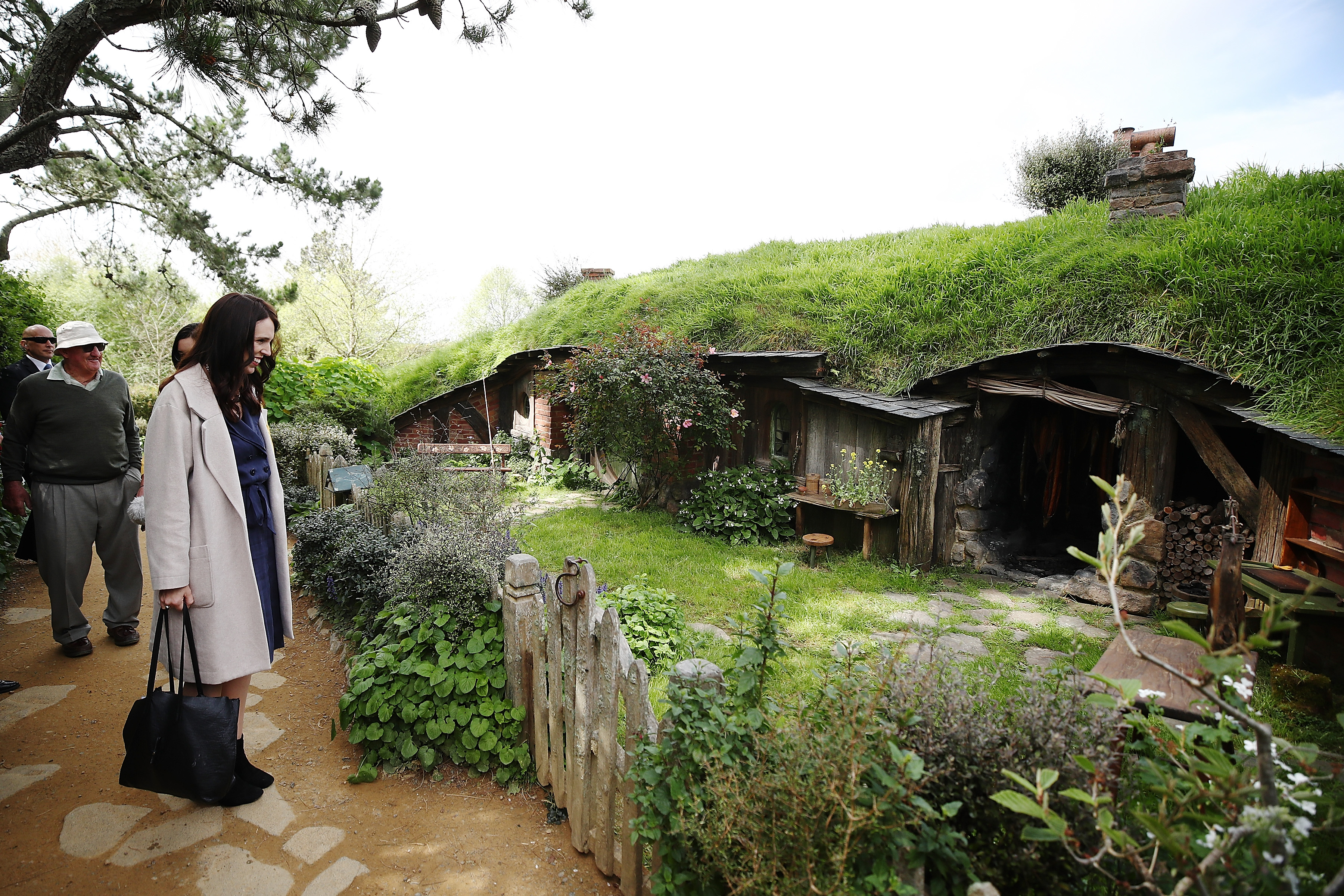 New Zealand Prime Minister Jacinda Ardern tours Hobbiton on October 4, 2018 in Matamata, New Zealand.