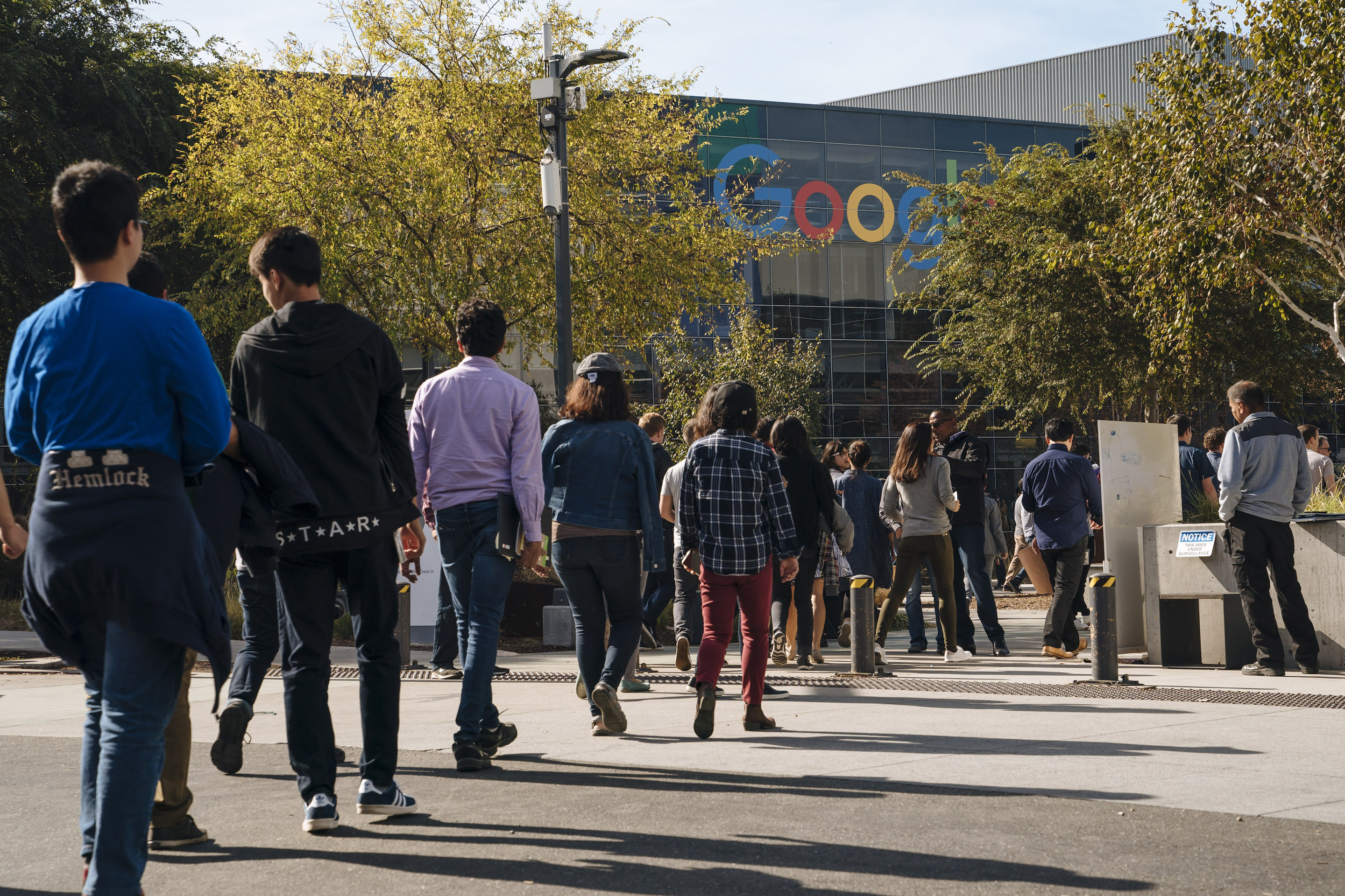 MOUNTAIN VIEW, CA - NOVEMBER 01: Google employees walk off the job to protest the company's handling of sexual misconduct claims on November 1, 2018, in Mountain View, California. Google's workers are preparing to walk off the job again, this time to participate in the climate change strike being held on Sept. 20.