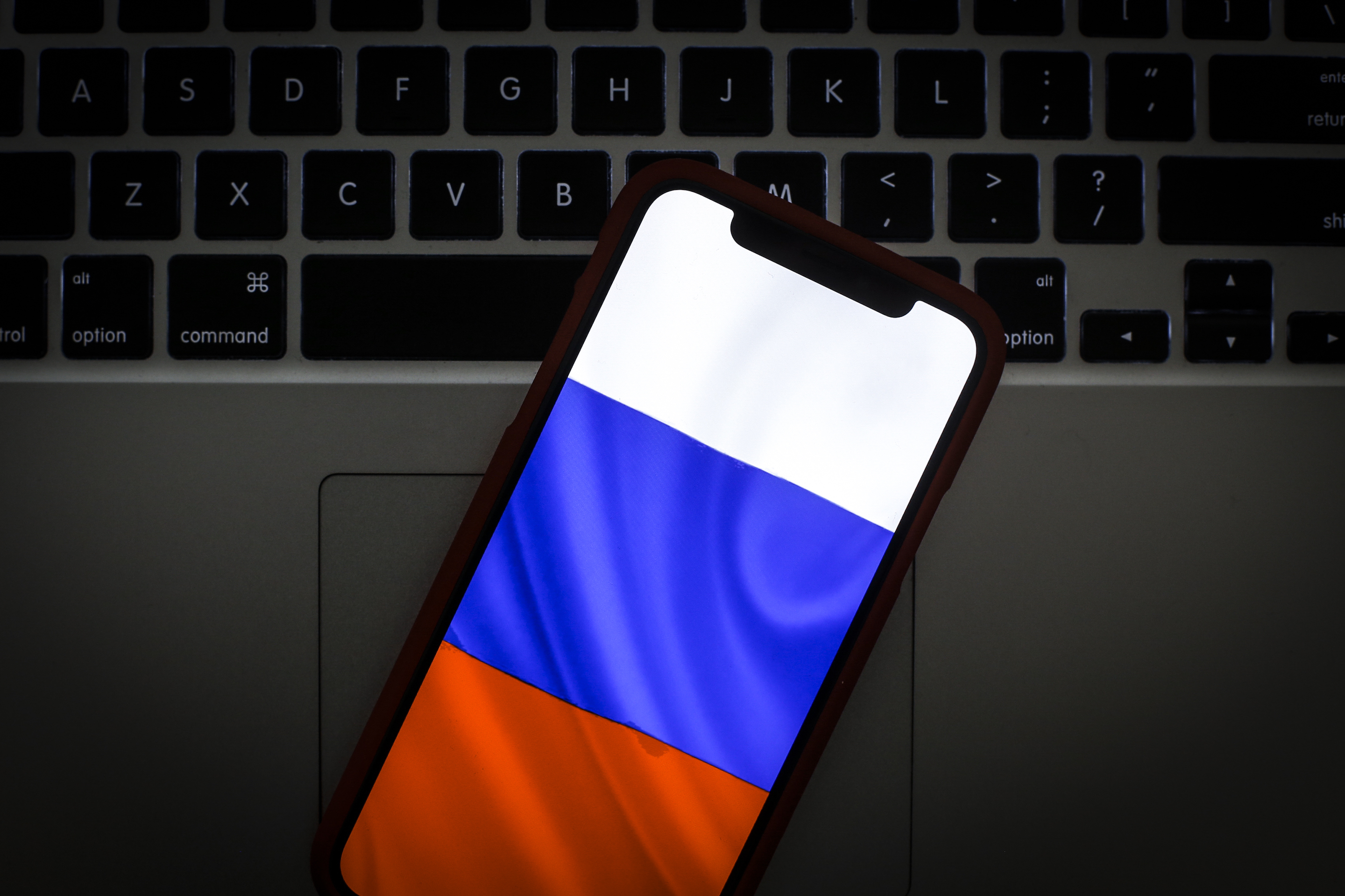 The Russian flag is seen on a portable mobile device in this photo illustration on January 22, 2019. (Photo by Jaap Arriens/NurPhoto)