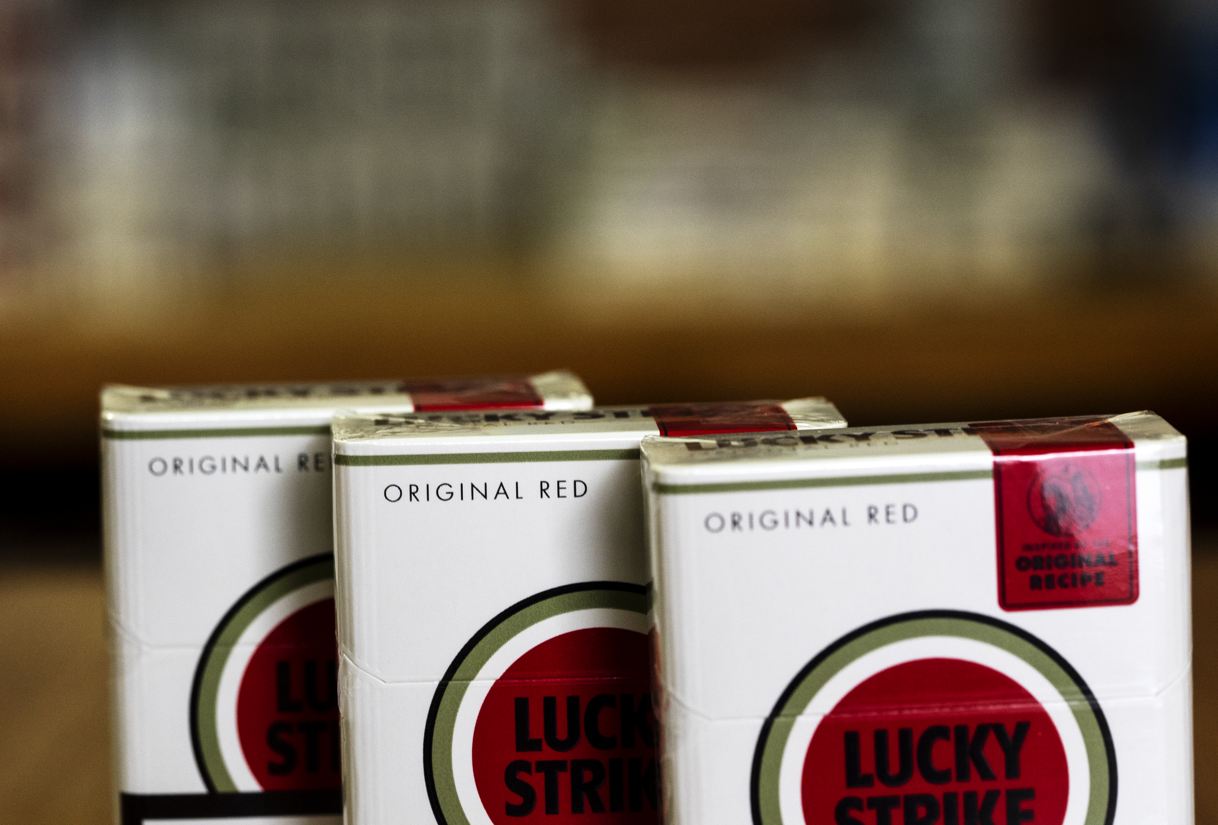 KIEV, UKRAINE - 2019/02/14: A pack of British American Tobacco Lucky Strike cigarettes seen in a Tobacco Store.