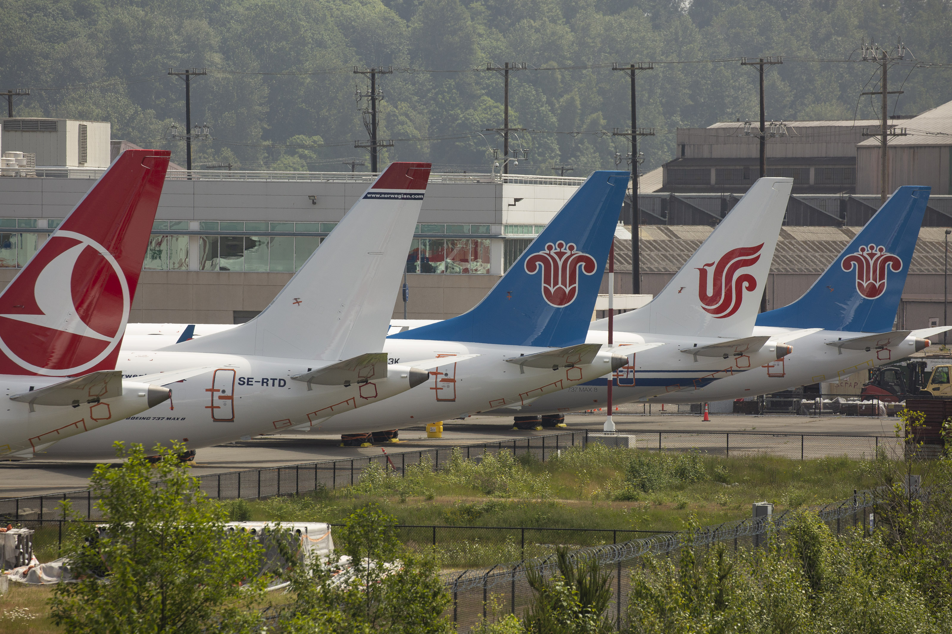 SEATTLE, WA - MAY 31: The tails of Boeing 737 MAX airplanes are seen as they sit parked at a Boeing facility adjacent to King County International Airport, known as Boeing Field, on May 31, 2019 in Seattle, Washington. Boeing 737 MAX airplanes have been grounded following two fatal crashes in which 346 passengers and crew were killed in October 2018 and March 2019. (Photo by David Ryder/Getty Images)