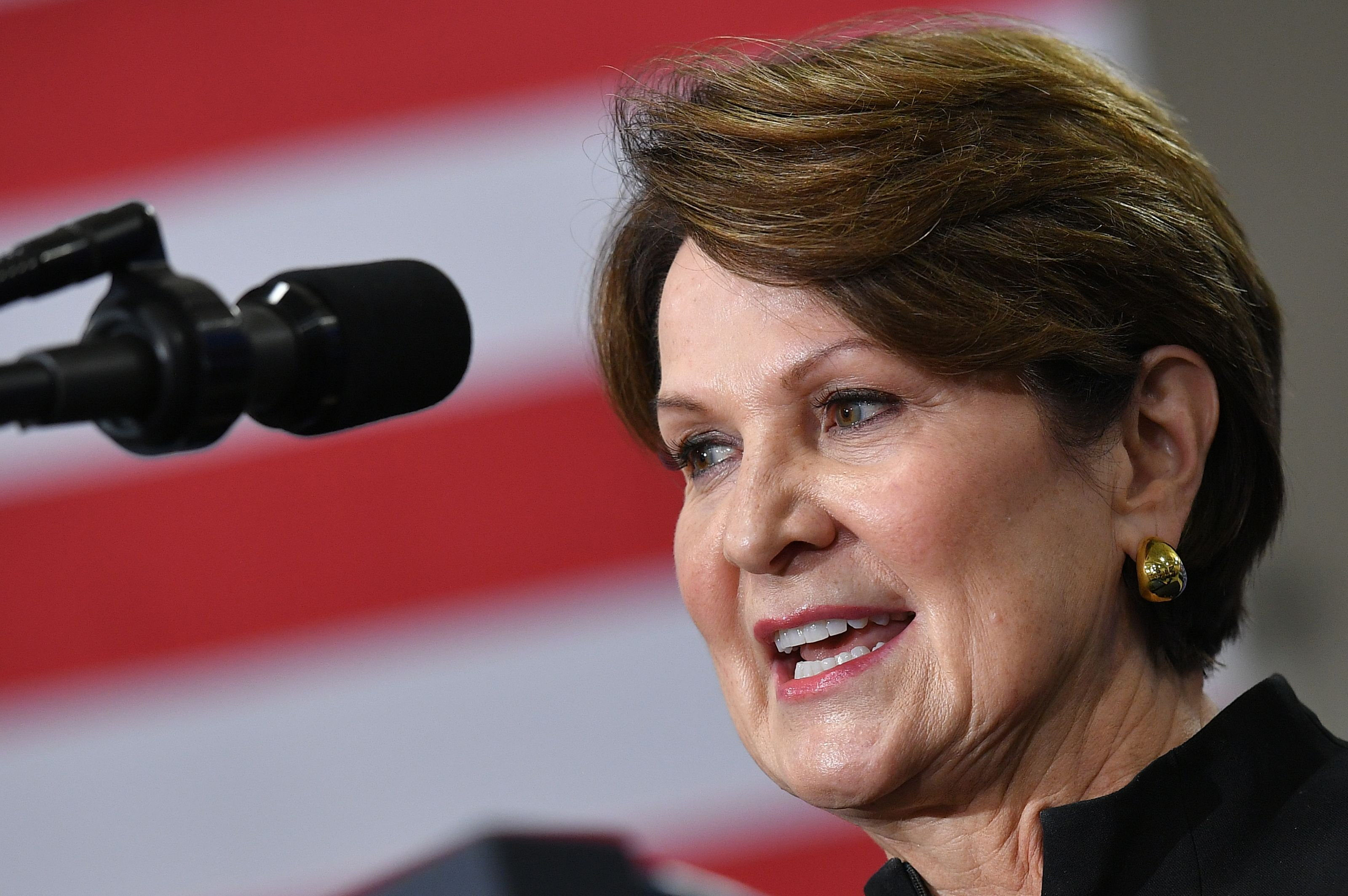 Lockheed Martin CEO Marillyn Hewson speaks during an event with US President Donald Trump on the United StatesMexicoCanada Agreement (USMCA) trade agreement at Derco Aerospace Inc. plant in Milwaukee, Wisconsin on July 12, 2019.