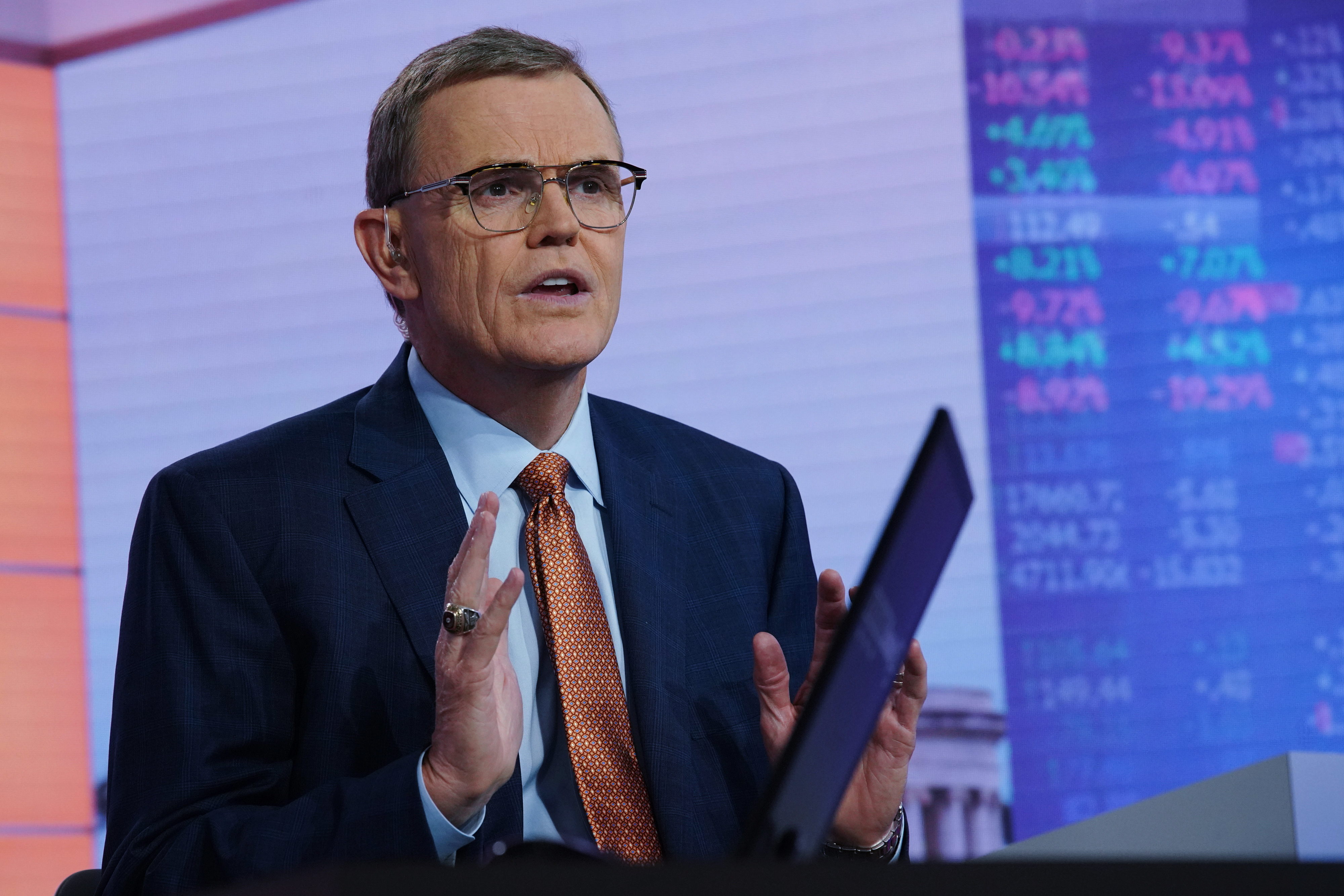 David Abney, chairman and chief executive officer of United Parcel Service Inc., speaks during a Bloomberg Television interview in New York, U.S., on Wednesday, July 24, 2019. UPS rose the most in more than 10 years after beating its own profit guidance, an early sign that a three-year, $20 billion expansion plan is paying off by keeping rising costs in check. Photographer: Christopher Goodney/Bloomberg via Getty Images