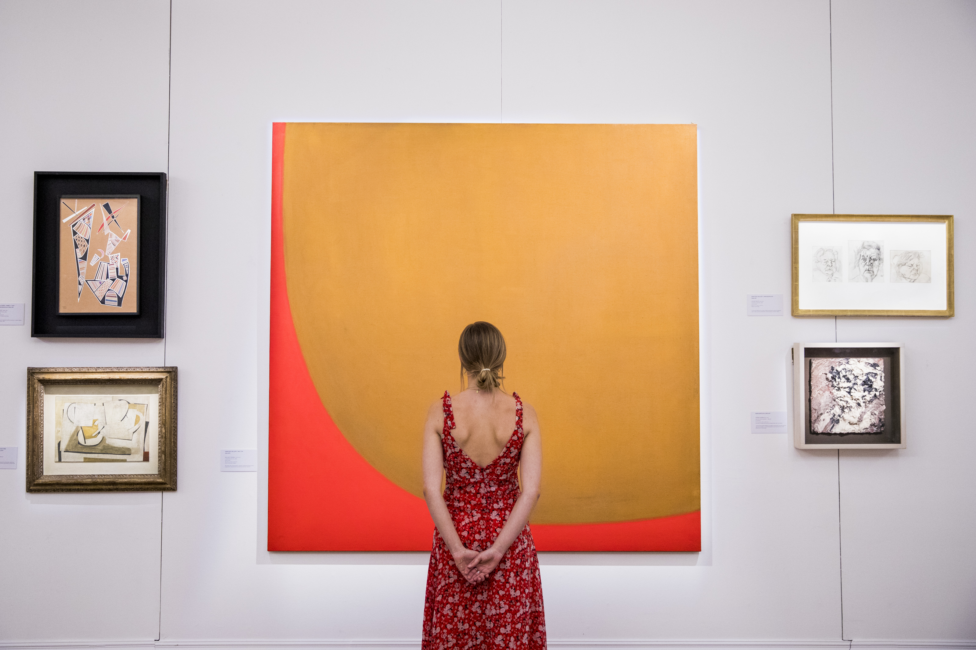 A moment during the exhibition 'Brave New Visions: The Emigres who transformed the British Art World' at Sotheby's London on July 17, 2019.