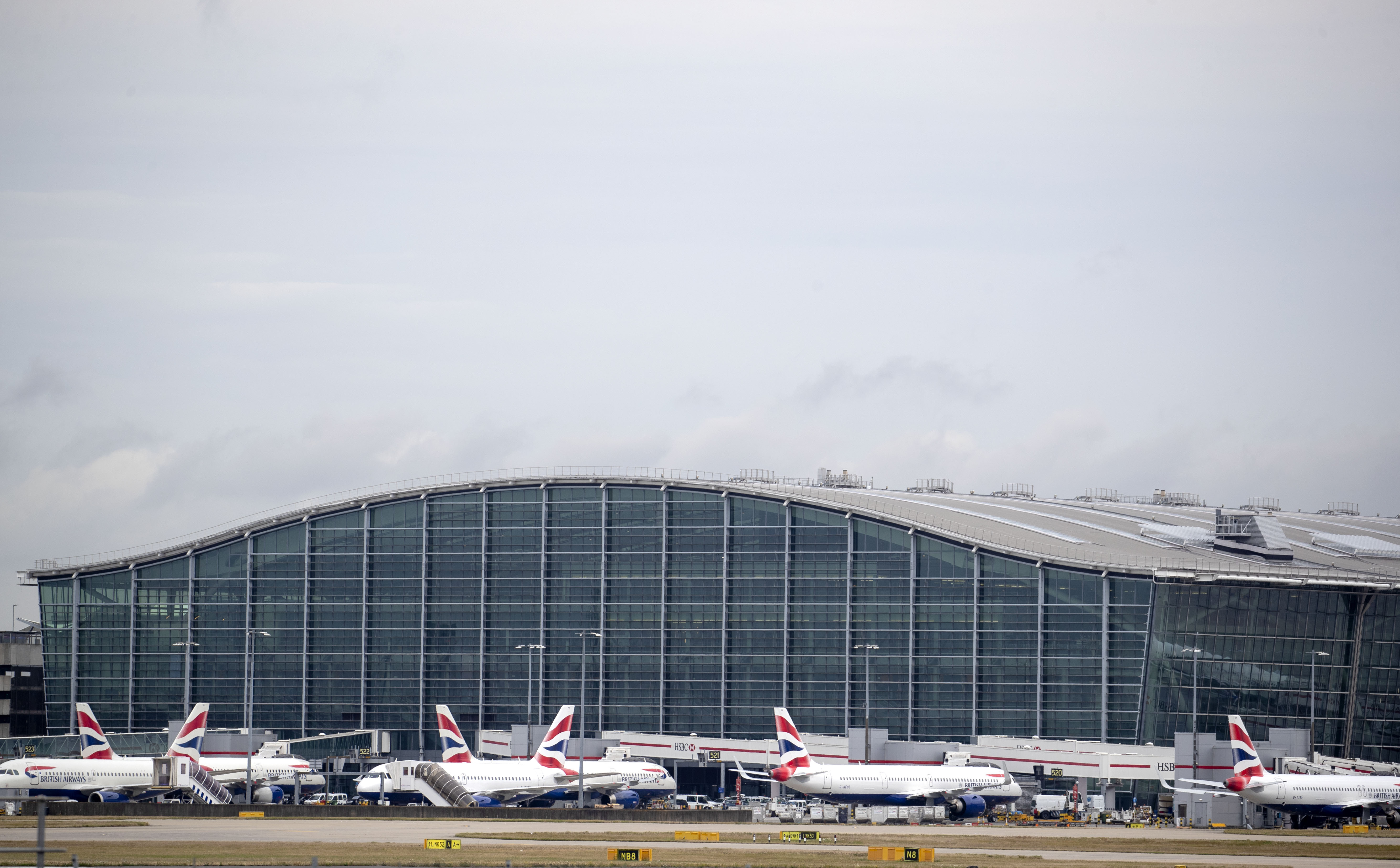 British Airways planes at Terminal Five at Heathrow Airport, London, on day one of the first-ever strike by British Airways pilots. The 48 hour walk out, in a long-running dispute over pay, will cripple flights from Monday, causing travel disruption for tens of thousands of passengers. (Photo by PA/PA Images via Getty Images)