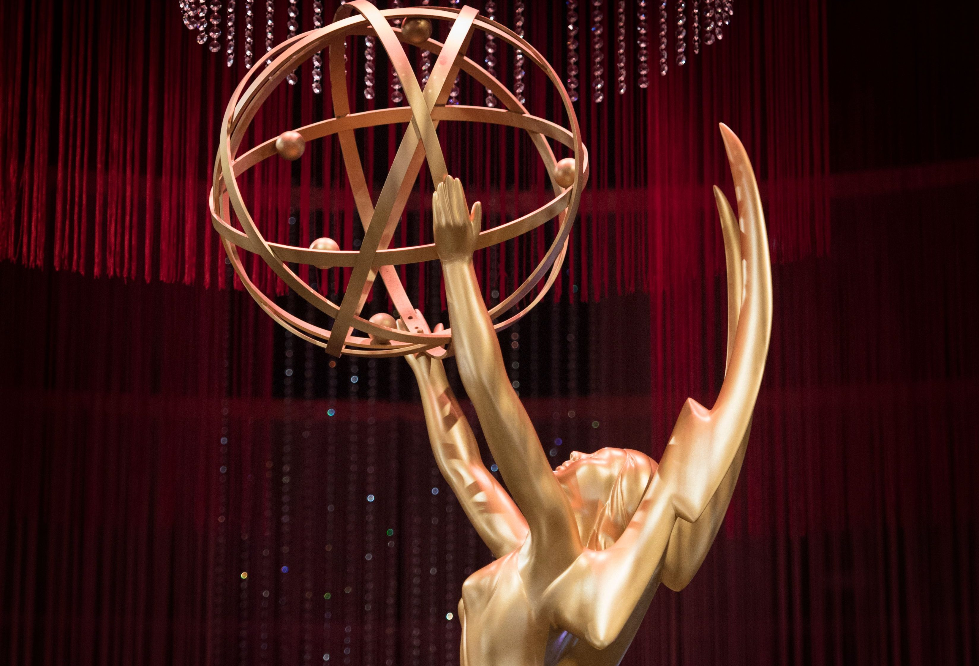An Emmy statue is displayed at the 71st Emmy Awards Governors Ball press preview at LA Live in Los Angeles, California on September 12, 2019.