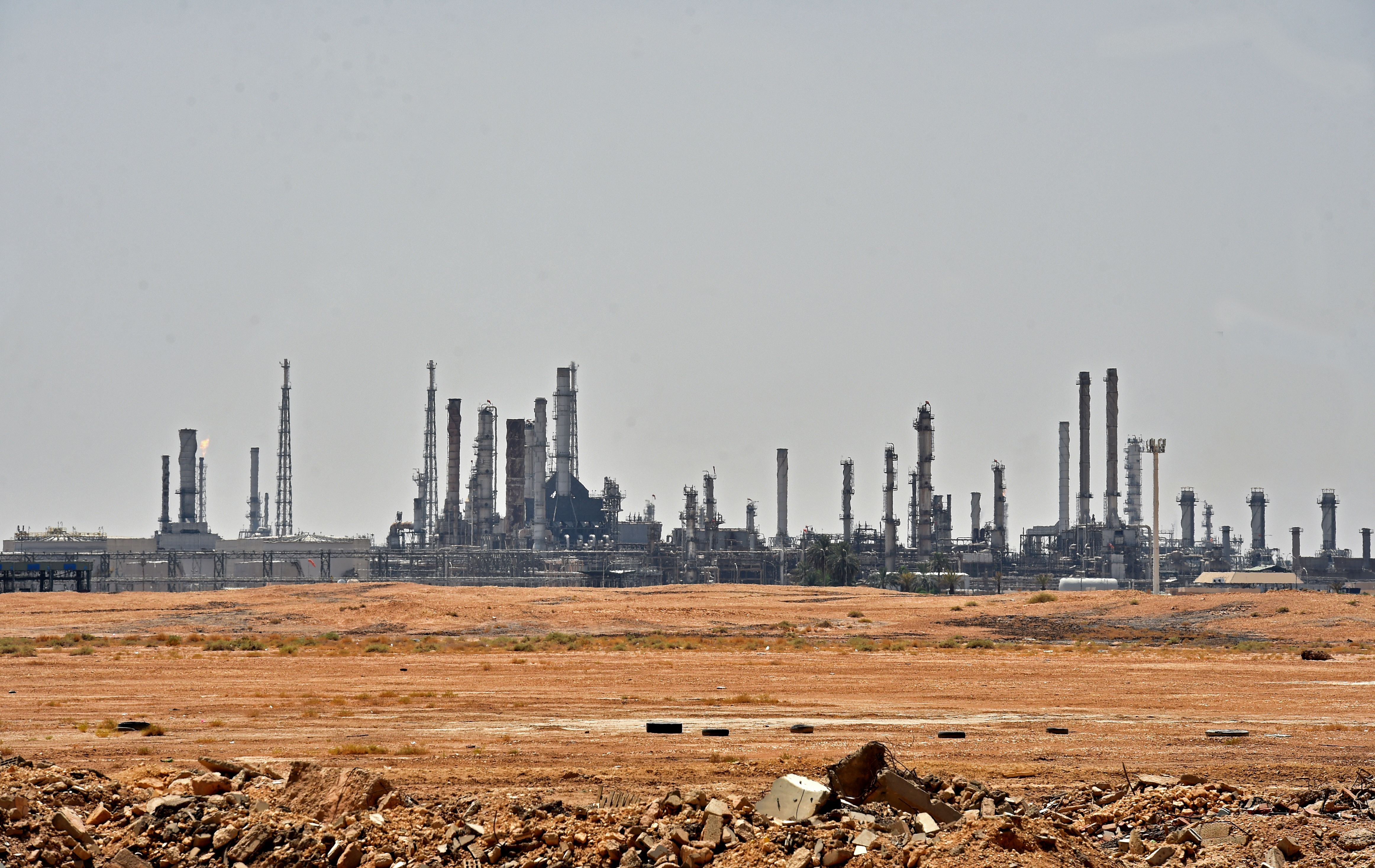 TOPSHOT - A picture taken on September 15, 2019 shows an Aramco oil facility near al-Khurj area, just south of the Saudi capital Riyadh. - Saudi Arabia raced today to restart operations at oil plants hit by drone attacks which slashed its production by half, as Iran dismissed US claims it was behind the assault.
