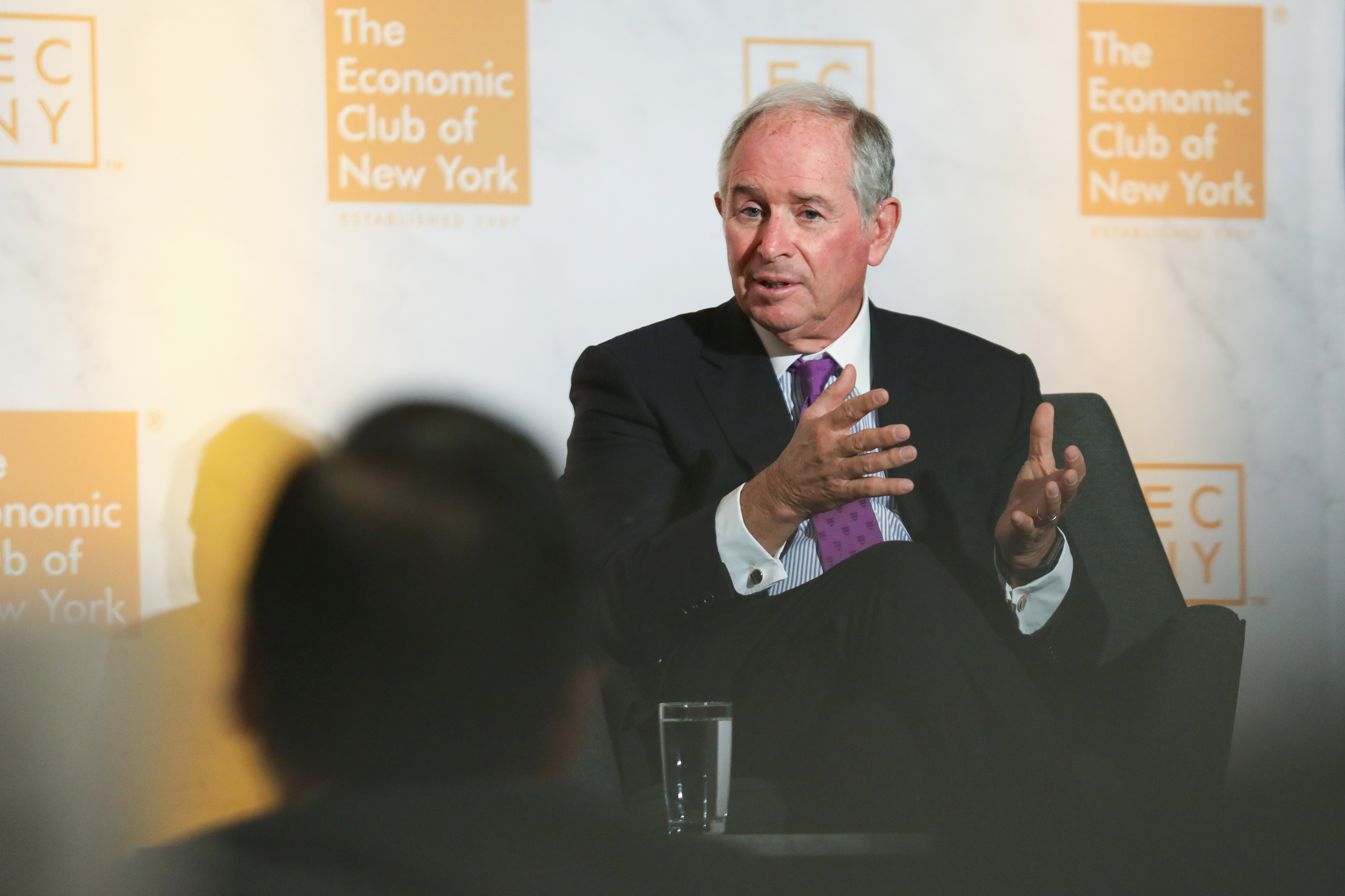 Stephen Schwarzman, co-founder and chief executive officer of Blackstone Group Inc., speaks during an event at the Economic Club of New York in New York, U.S., on Wednesday, Sept. 18, 2019.