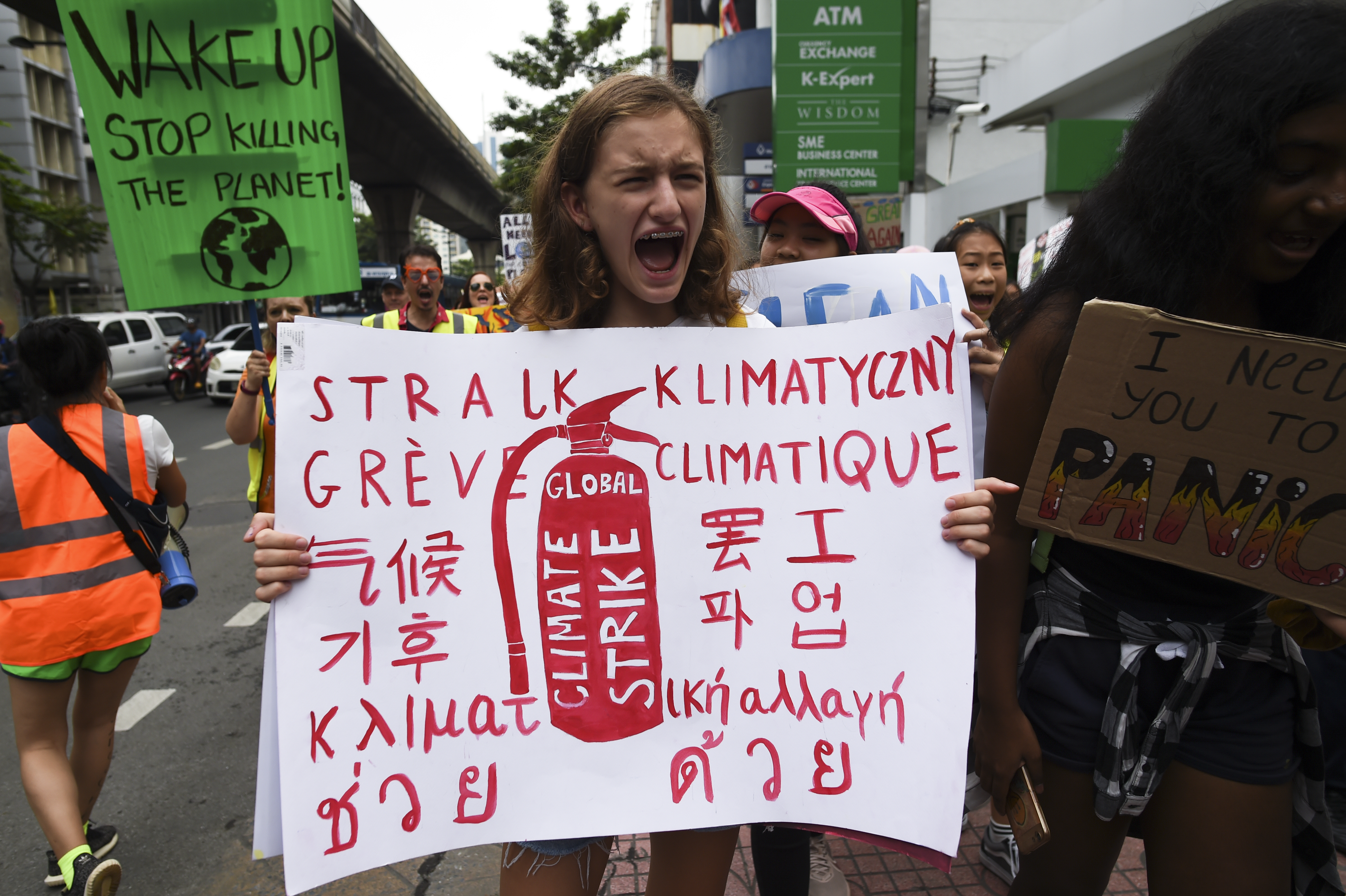 Environmental activists participate during the Global Strike 4 Climate event in Bangkok, Thailand, 20 September 2019. (Photo by Anusak Laowilas/NurPhoto via Getty Images)