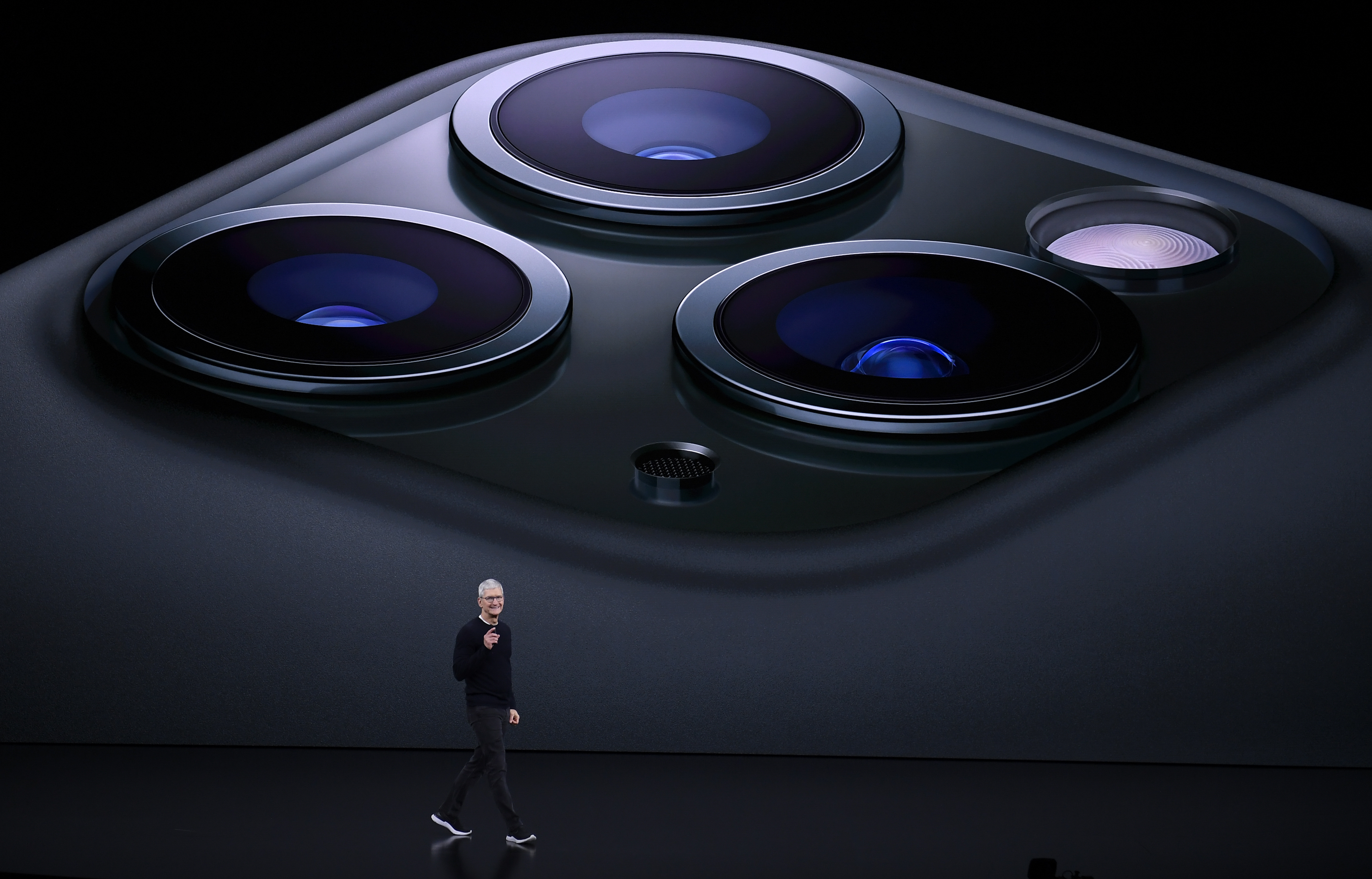 Apple CEO Tim Cook delivers the keynote address during an Apple launch event on September 10, 2019 in Cupertino, California. Apple unveiled several new products including iPhone 11, iPhone 11 Pro, Apple Watch Series 5 and an updated iPad. (Photo by Qi Heng/VCG via Getty Images)