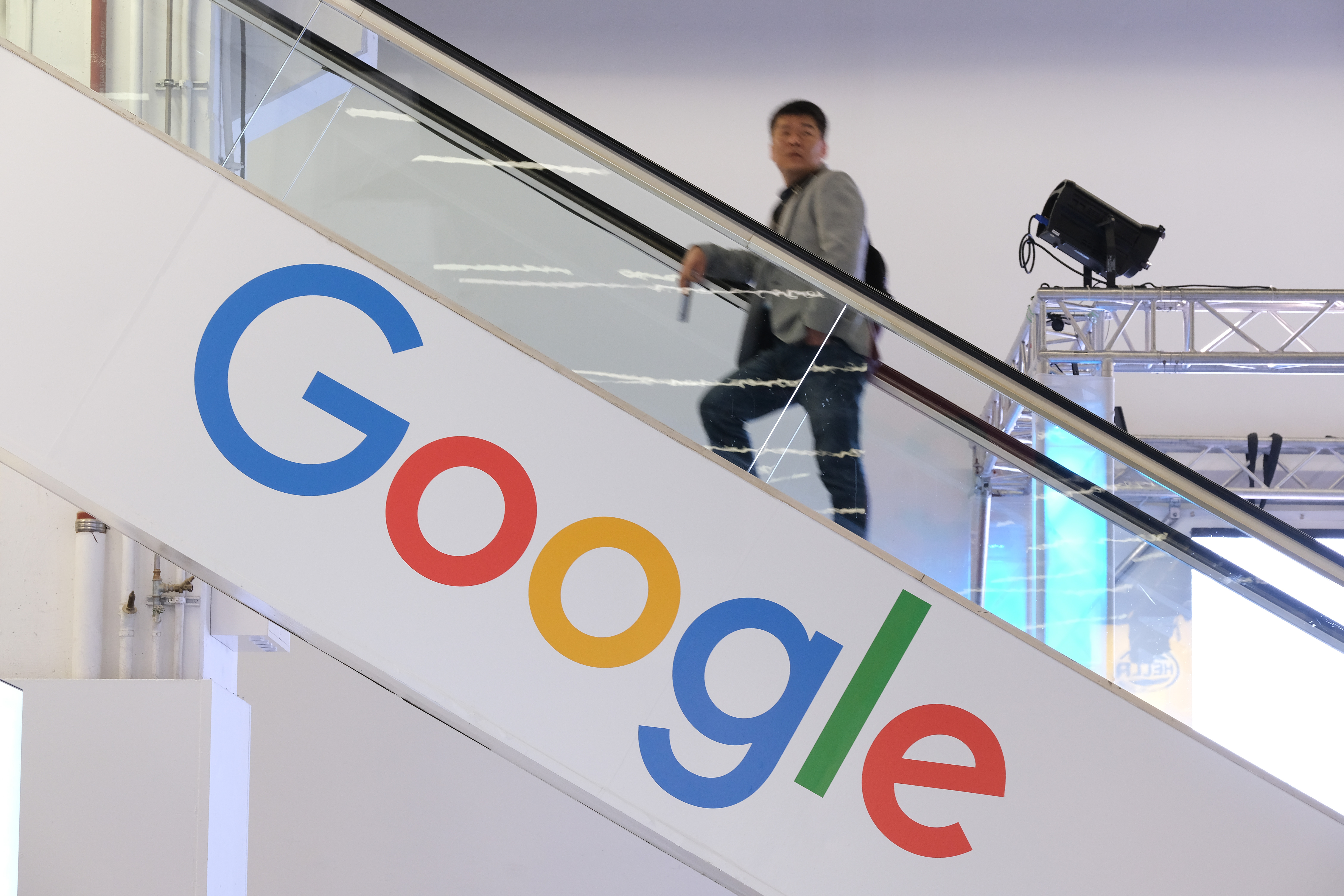 FRANKFURT AM MAIN, GERMANY - SEPTEMBER 11: The Google logo adorns an escalator during the press days at the 2019 IAA Frankfurt Auto Show on September 11, 2019 in Frankfurt am Main, Germany. The IAA will be open to the public from September 12 through 22. (Photo by Sean Gallup/Getty Images)