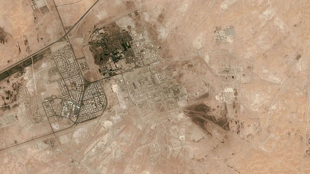A satellite image of Abqaiq oil refinery, in Eastern Province, Saudi Arabia. The refinery was hit by a drone attack over the weekend.