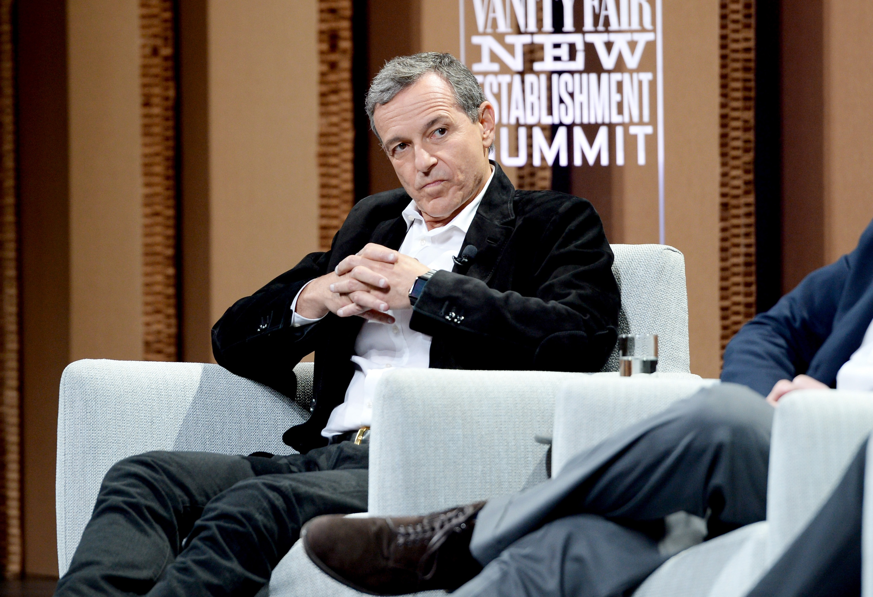 Disney CEO Bob Iger speaks onstage at the Vanity Fair New Establishment Summit at Yerba Buena Center for the Arts on October 6, 2015 in San Francisco, California. Iger resigned Sept. 10 from Apple's board of directors, as both companies aim to launch competing video streaming services, Disney Plus and Apple TV Plus.