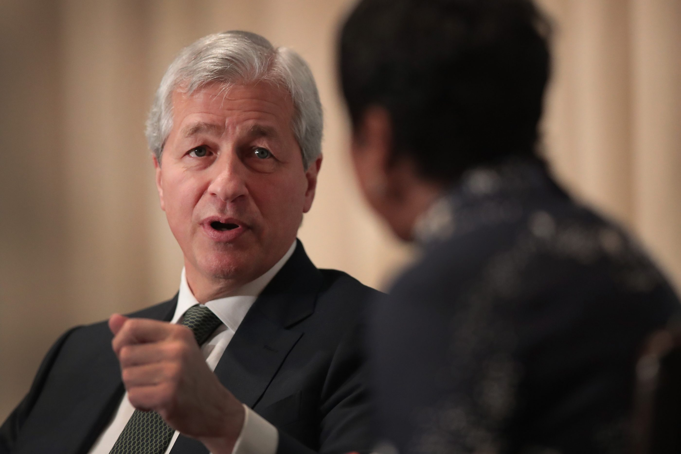 JPMorgan Chase chairman and CEO Jamie Dimon fields questions during a luncheon hosted by The Economic Club of Chicago in November 2017.