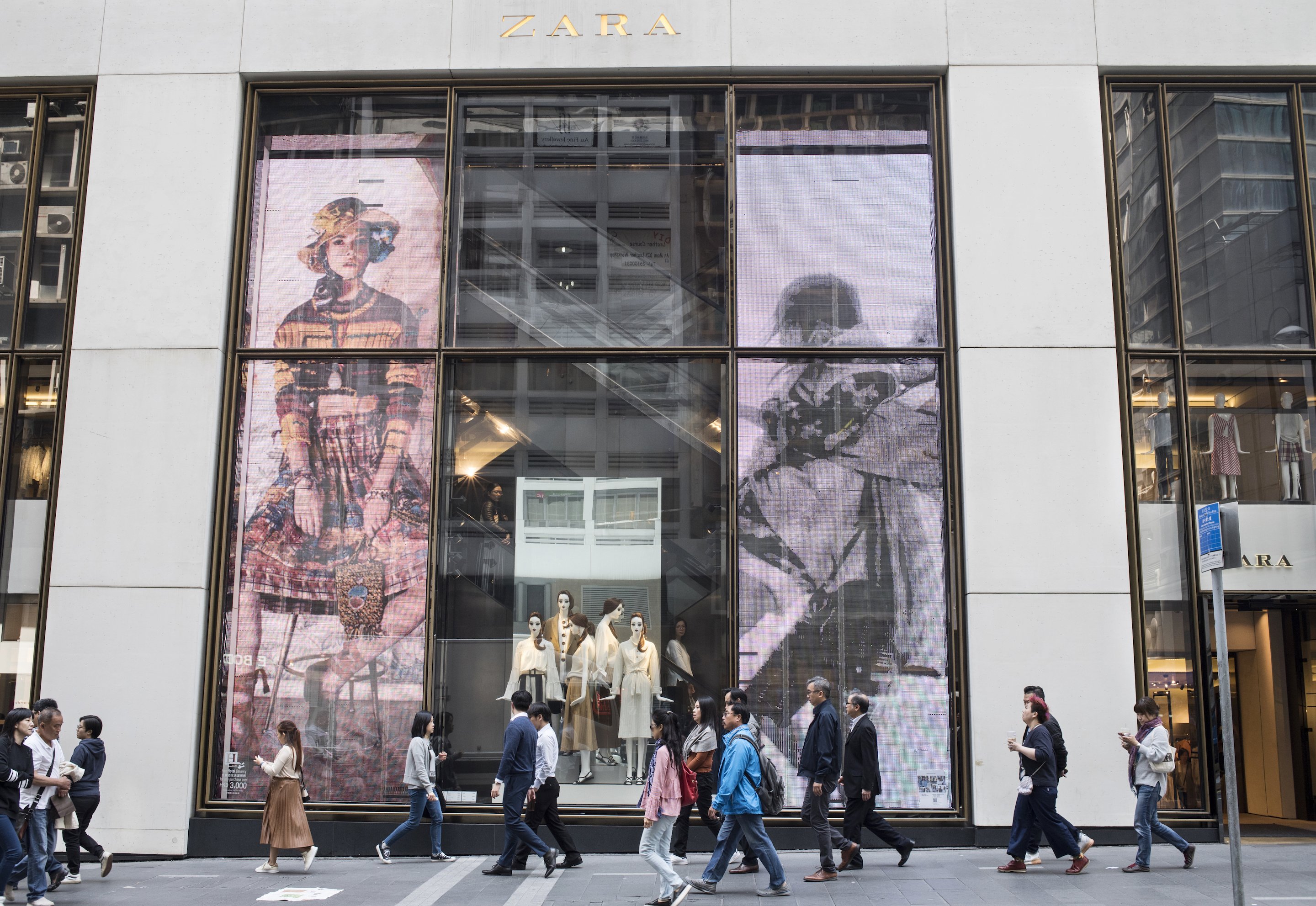 Spanish multinational retailer Zara's store in Hong Kong's Queen's Road, Central district.