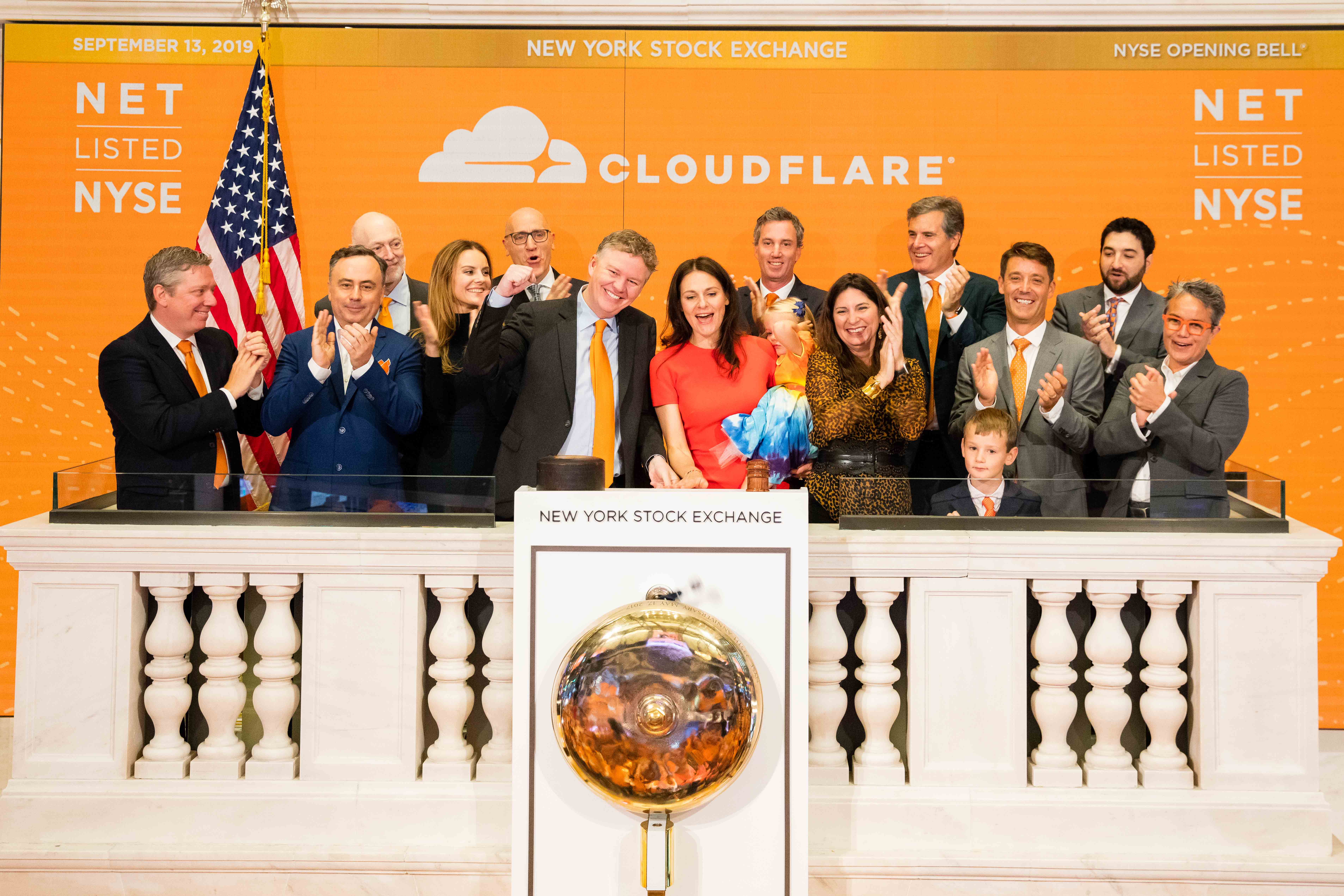 Cloudflare went public on the New York Stock Exchange on Friday. CEO Matthew Prince rang the opening bell with his cofounder and chief operating office, Michelle Zatlyn (both pictured in center).