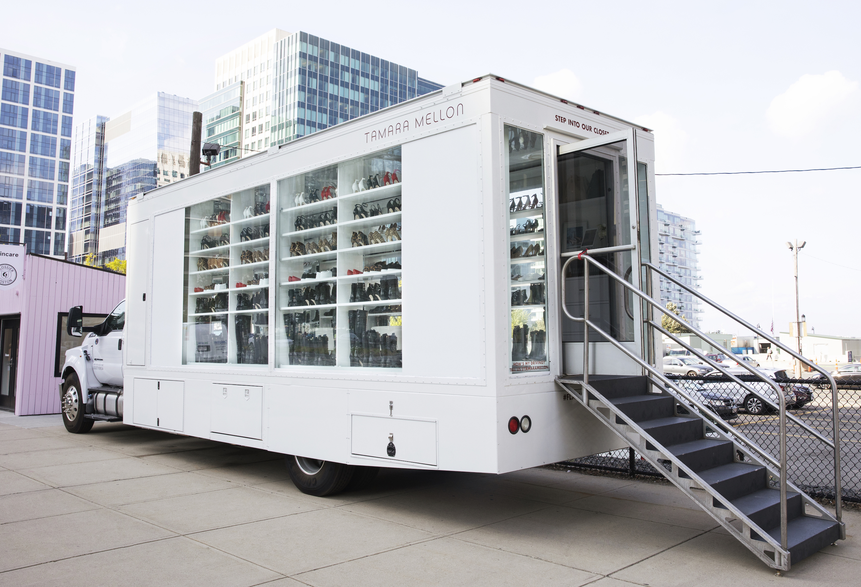 The Tamara Mellon truck shoe salon parked in Boston Seaport, a hub of pop-up stores.