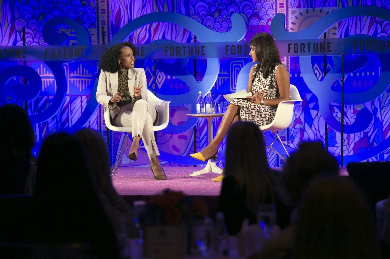 Gro Intelligence CEO Sara Menker (L) chats at the Fortune Most Powerful Women International Summit in Toronto.