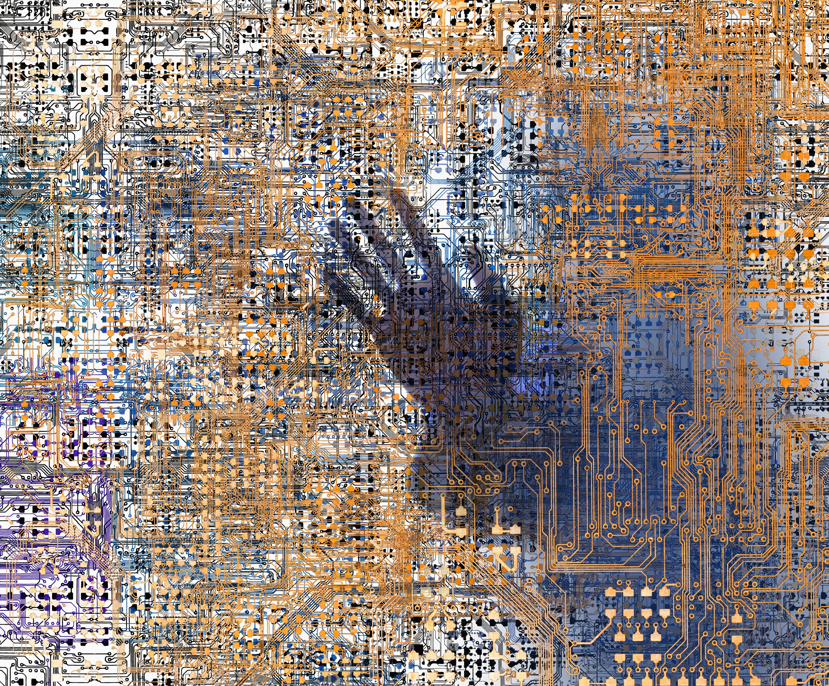 A ghostly hand is seen within a complex network of computer circuitry. Fingerprinting, endpoint visibility, and back ups are all necessary steps to safeguard against data manipulation.