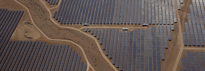 A solar panel field