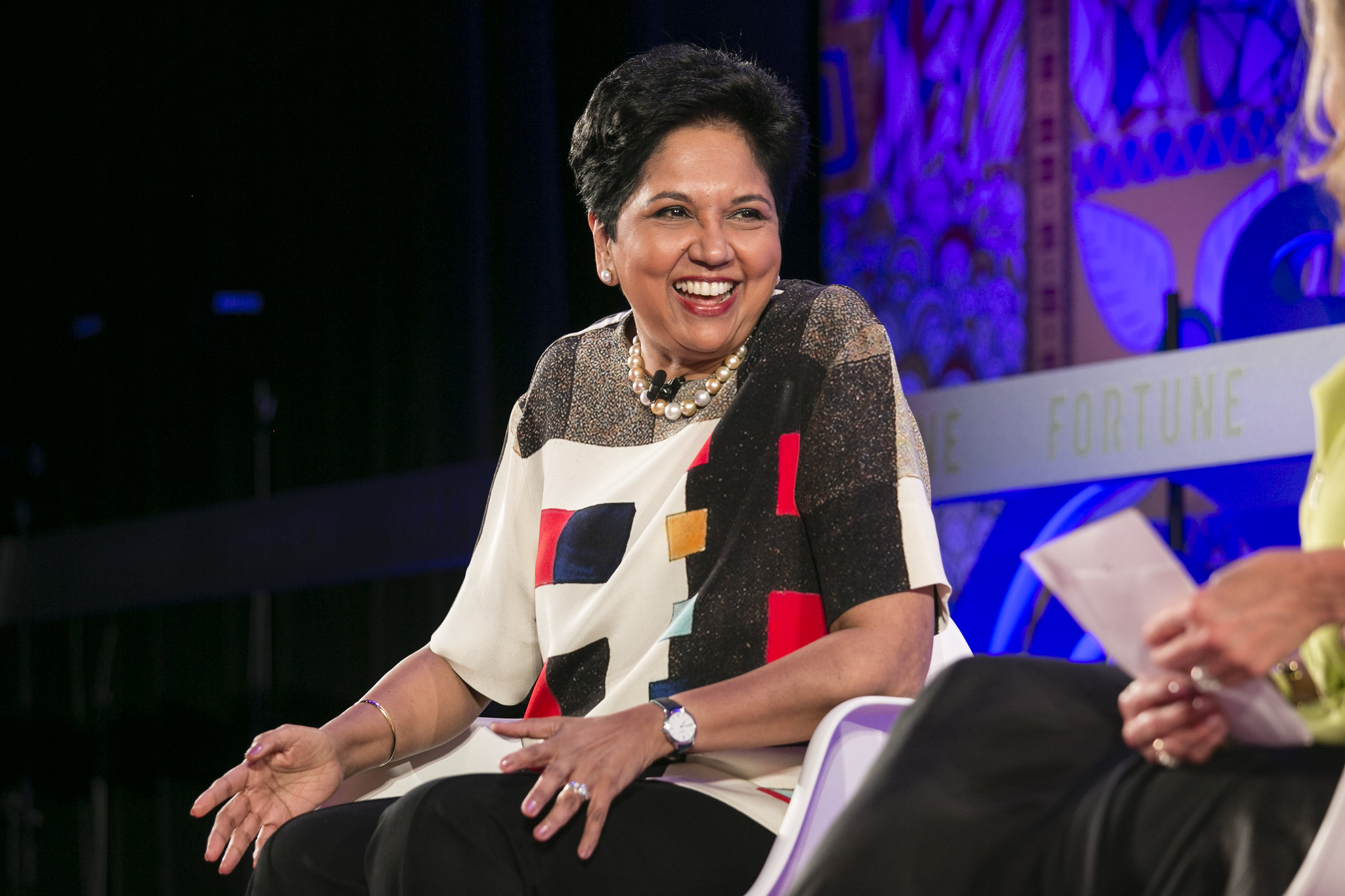 Indra Nooyi speaking at Fortune's Most Powerful Women International Summit in Toronto.