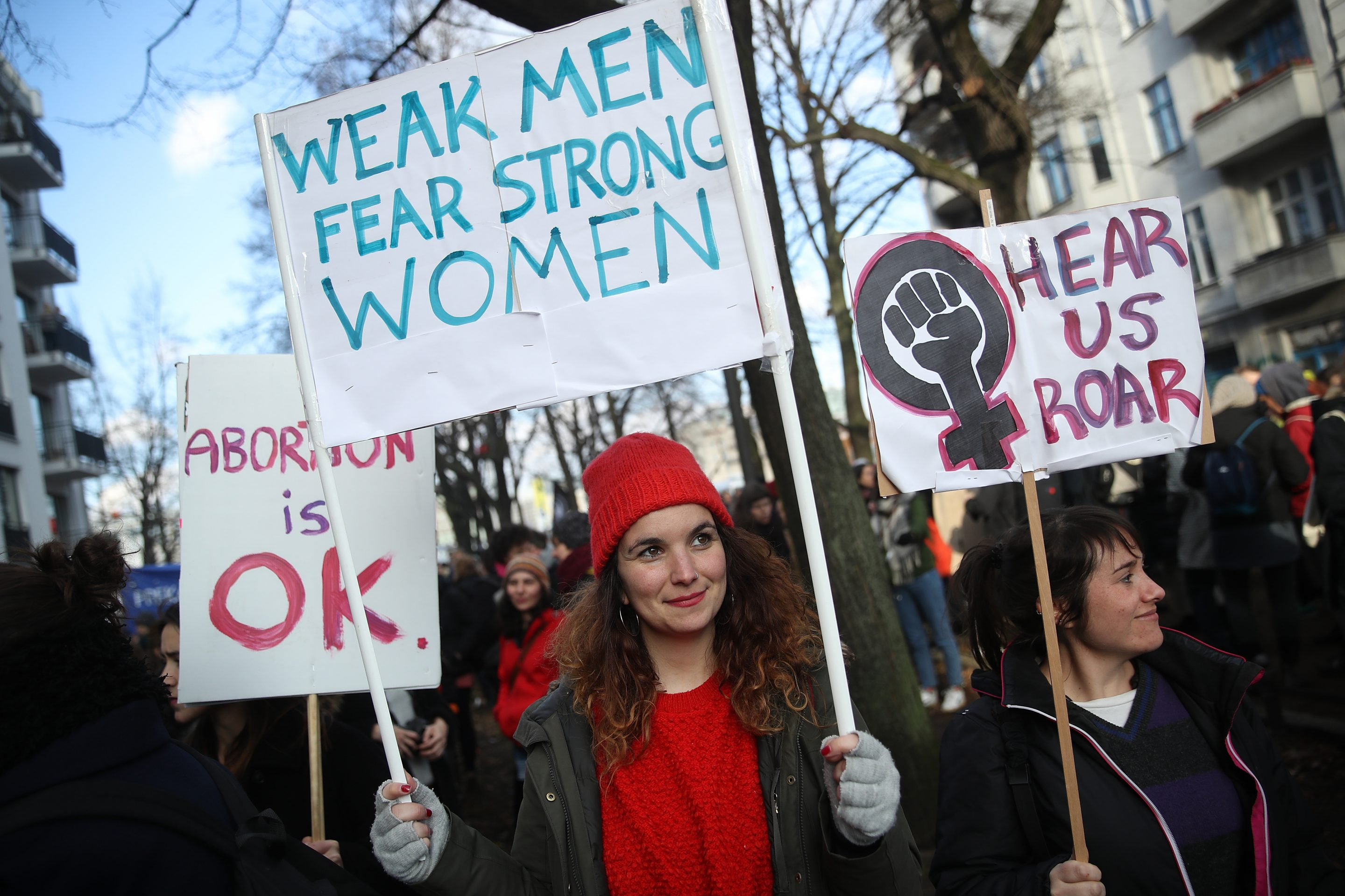 Women attend the beginning of a march for women's rights at Schlesisches Tor on International Women's Day on March 8, 2018 in Berlin, Germany.