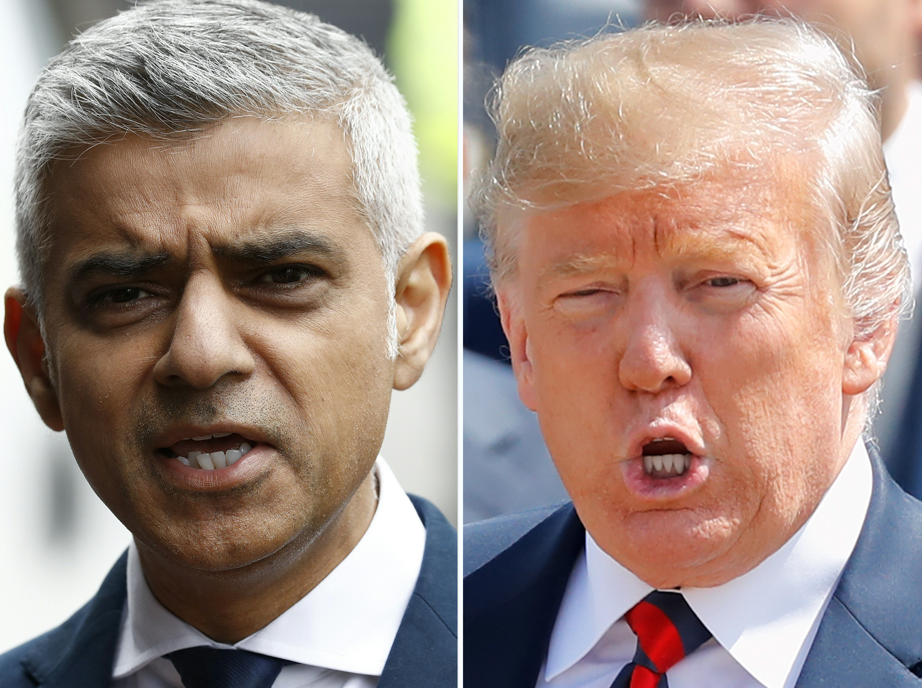 This combination of files pictures created in London on July 13, 2018 shows Mayor of London Sadiq Khan (L) after visiting Borough High Street in London on June 5, 2017 and US President Donald Trump (R) gesturing as he arrives at London Stansted Airport for a UK visit on July 12, 2018.