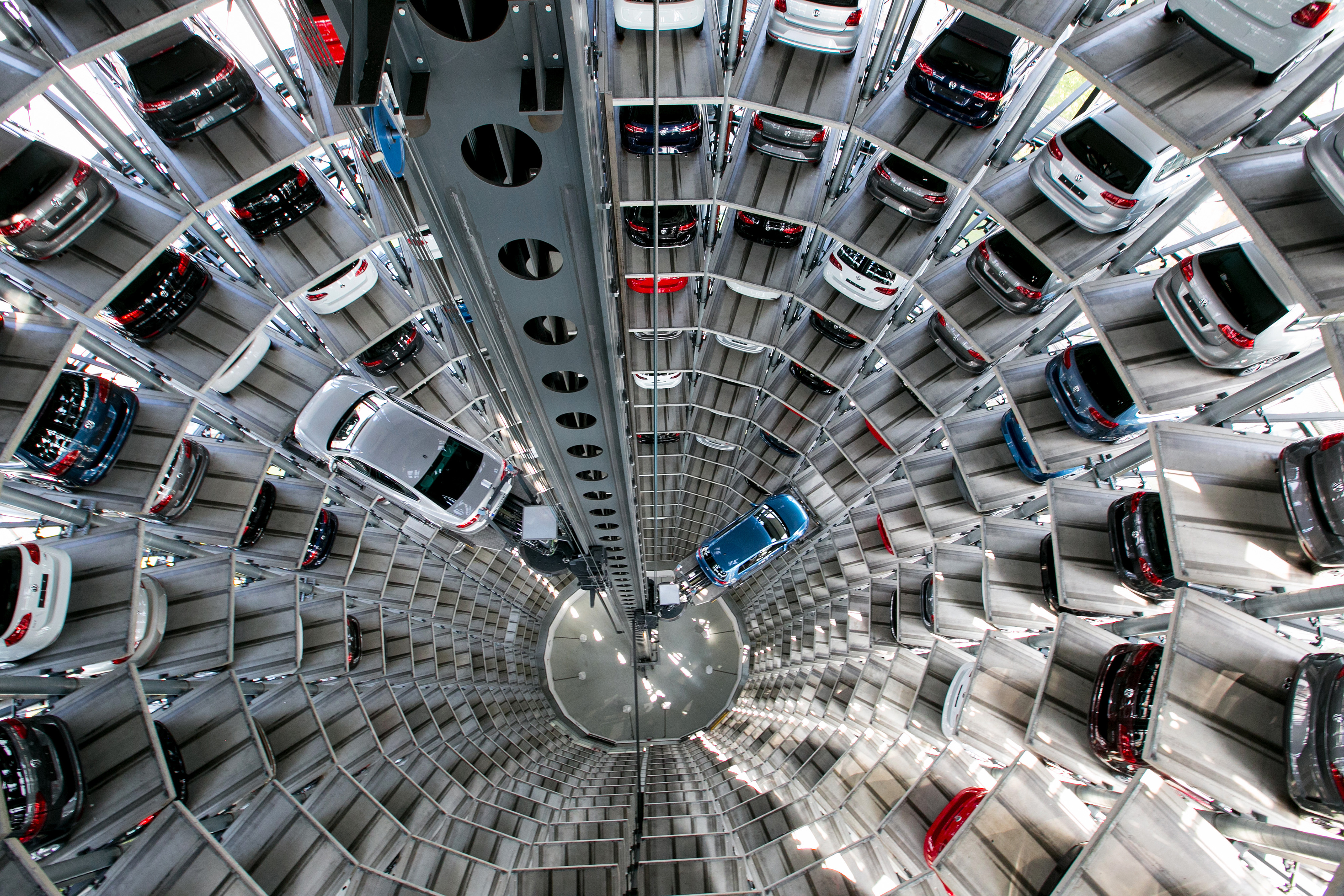 New Automobiles Inside Volkswagen AG's Delivery Tower As Emissions Crisis Financial Impact Continues