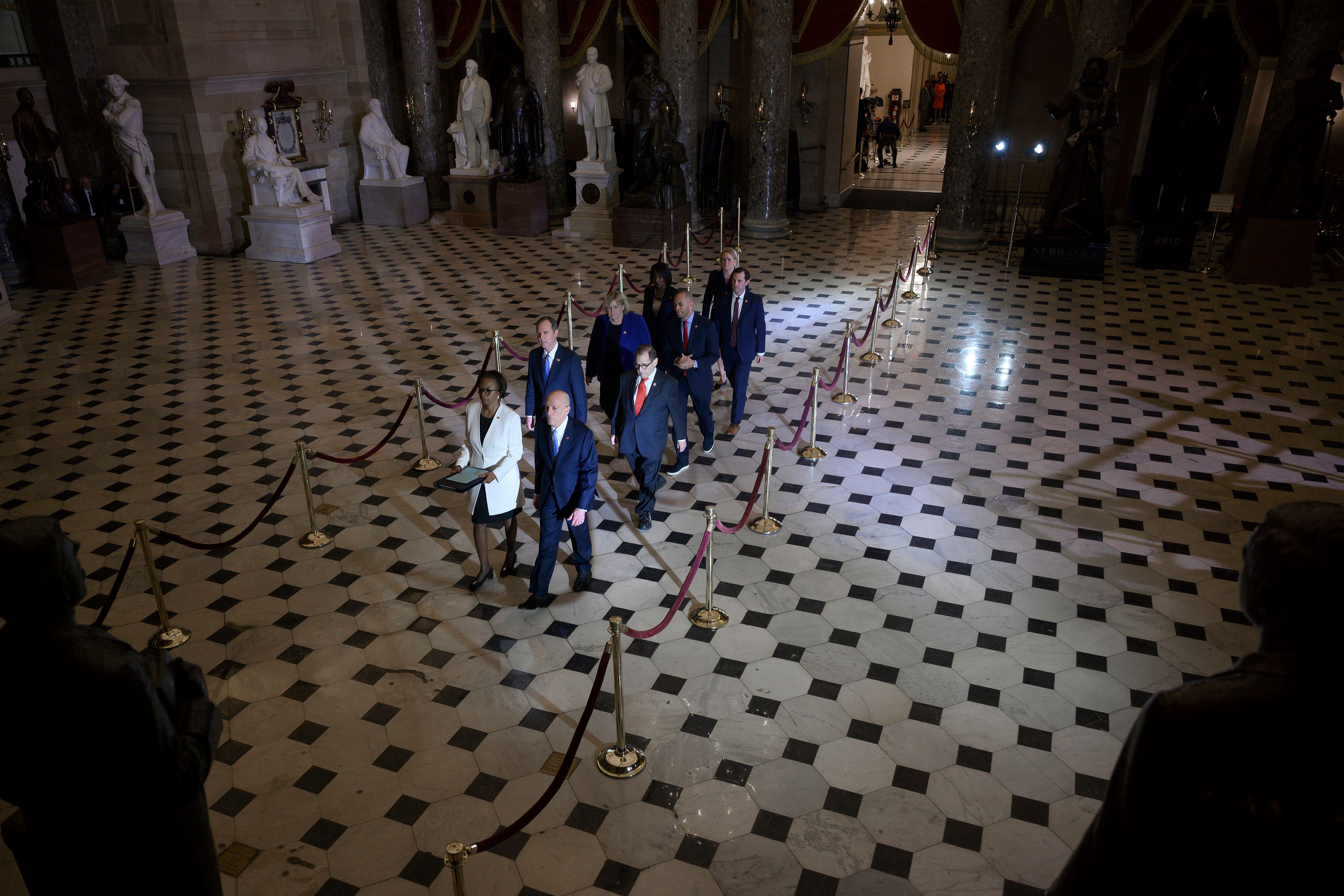House Democrats formally hand off Trump impeachment case to Senate ...