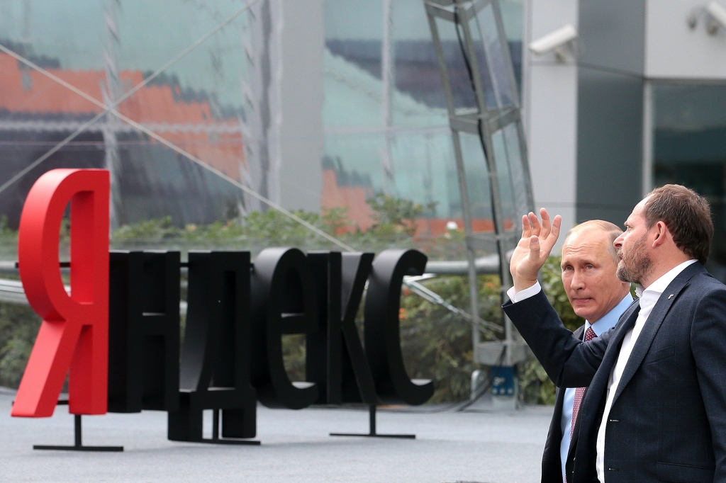Russian President Putin visits Yandex headquarters in Moscow