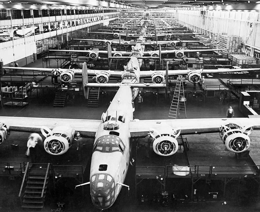 B-24 Liberators being assembled at the Willow Run Bomber Factory in Detroit.
