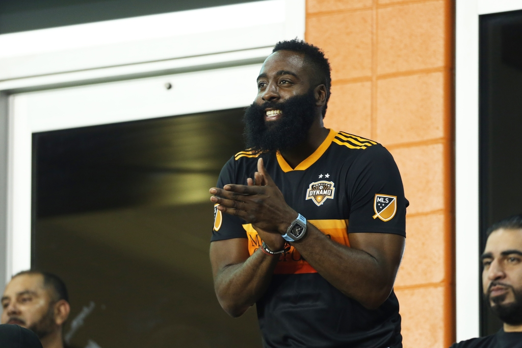 James Harden cheers for the Houston Dynamo during the Leagues Cup in Houston in July 2019.
