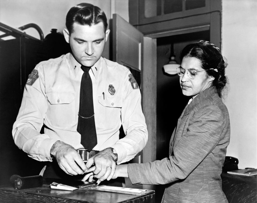Rosa Parks 1956 gets fingerprinted