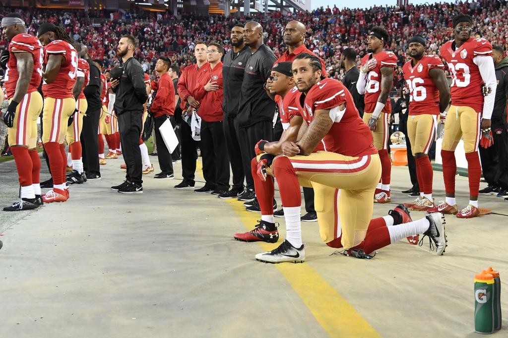 2016 Kaepernick and Reid kneeling at Levis Stadium