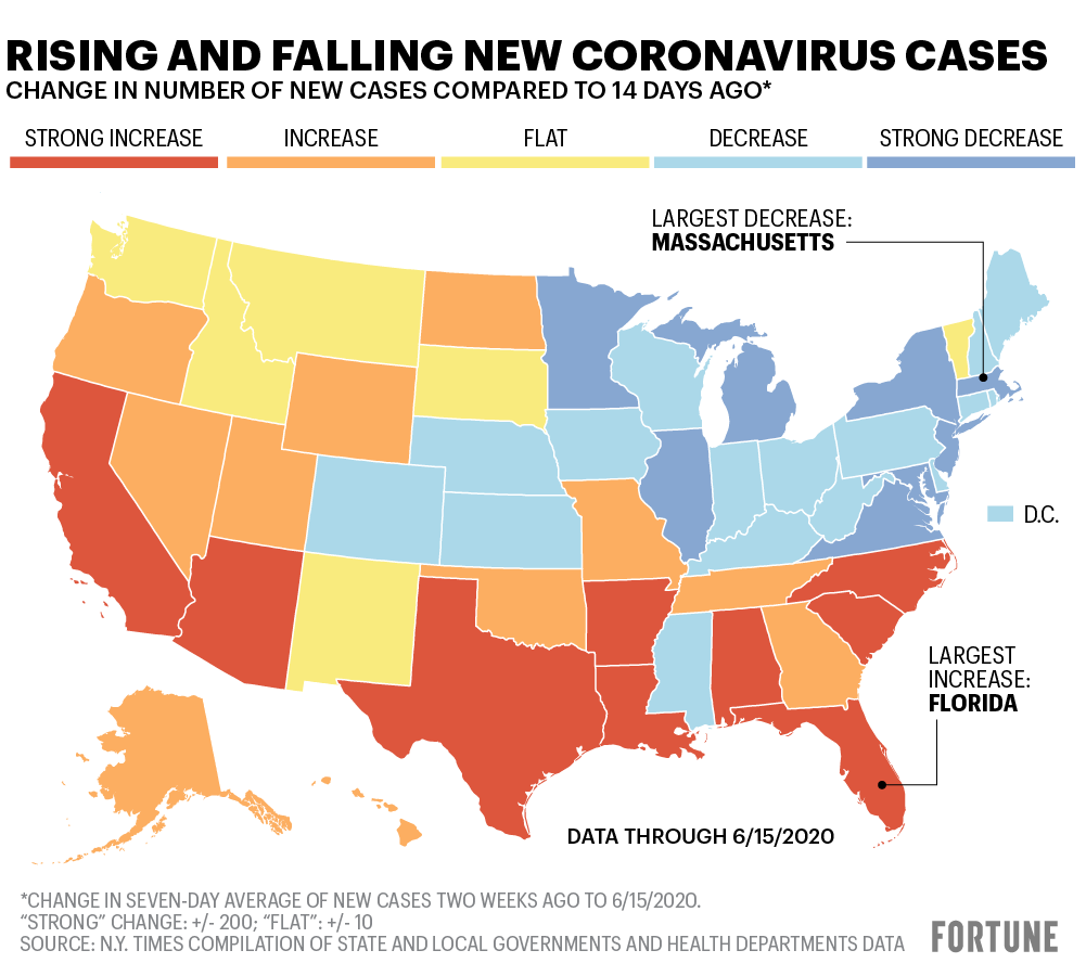 Map shows number of new Covid-19 cases by state
