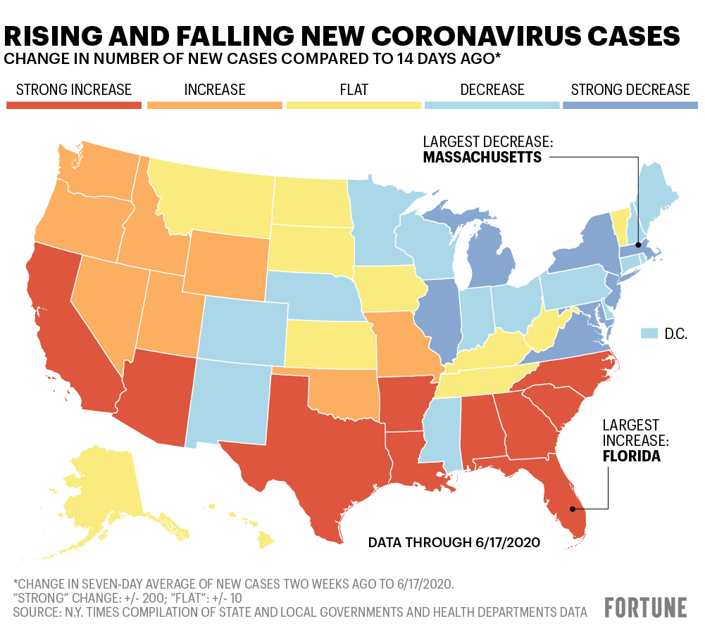 Texas To Florida Map Florida and Texas lead states where new coronavirus cases are
